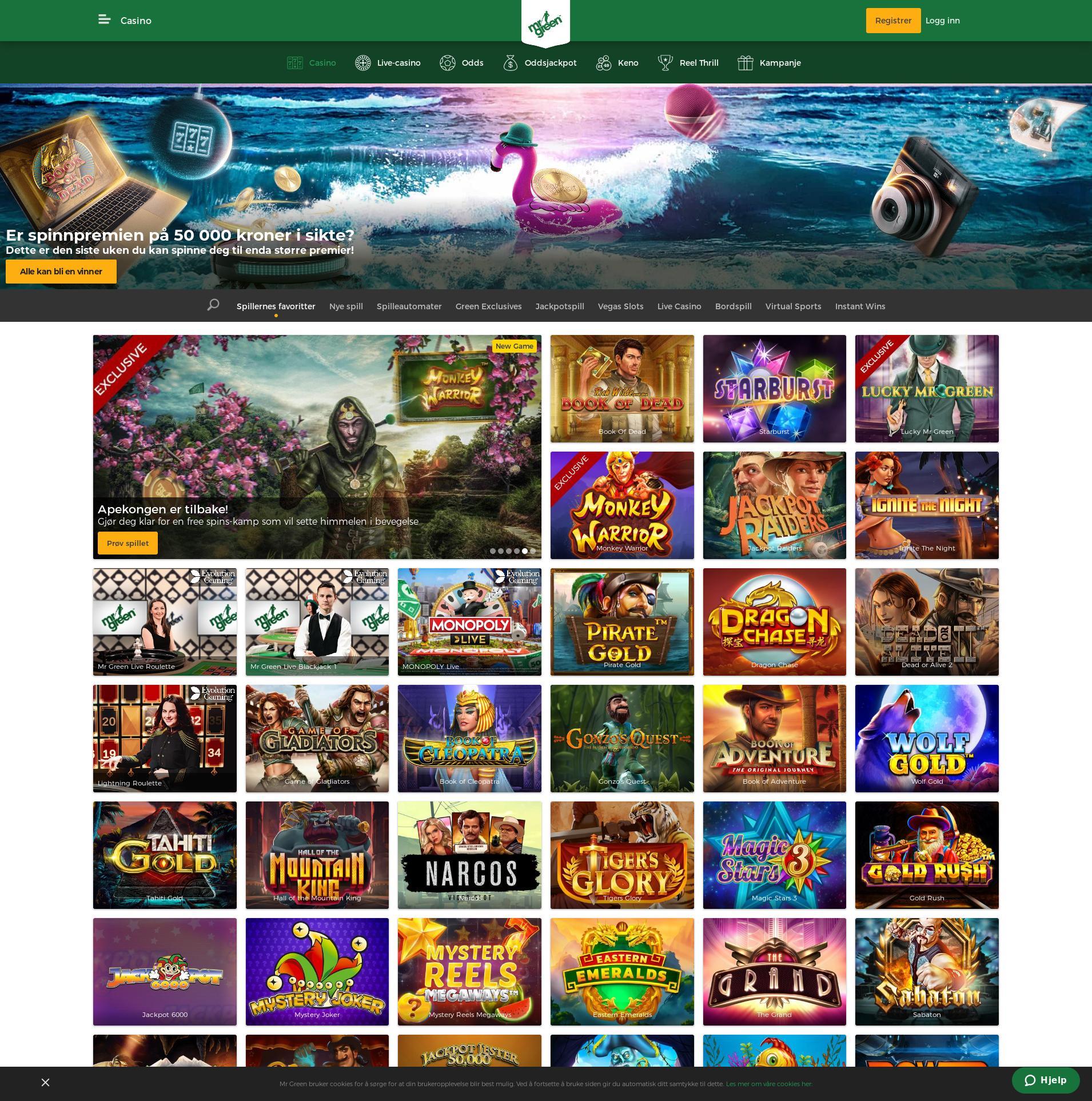 Casino skjerm Lobby 2019-06-18 til Norge