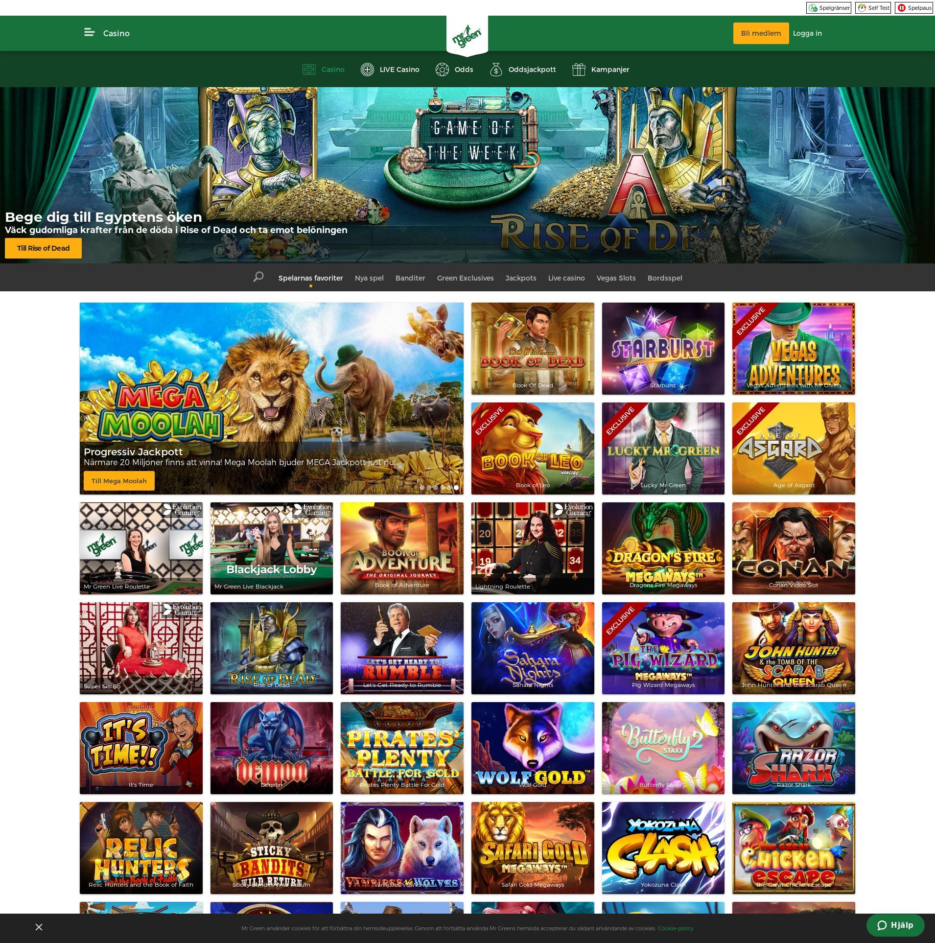 Casino skärm Lobby 2019-10-13 för Sverige