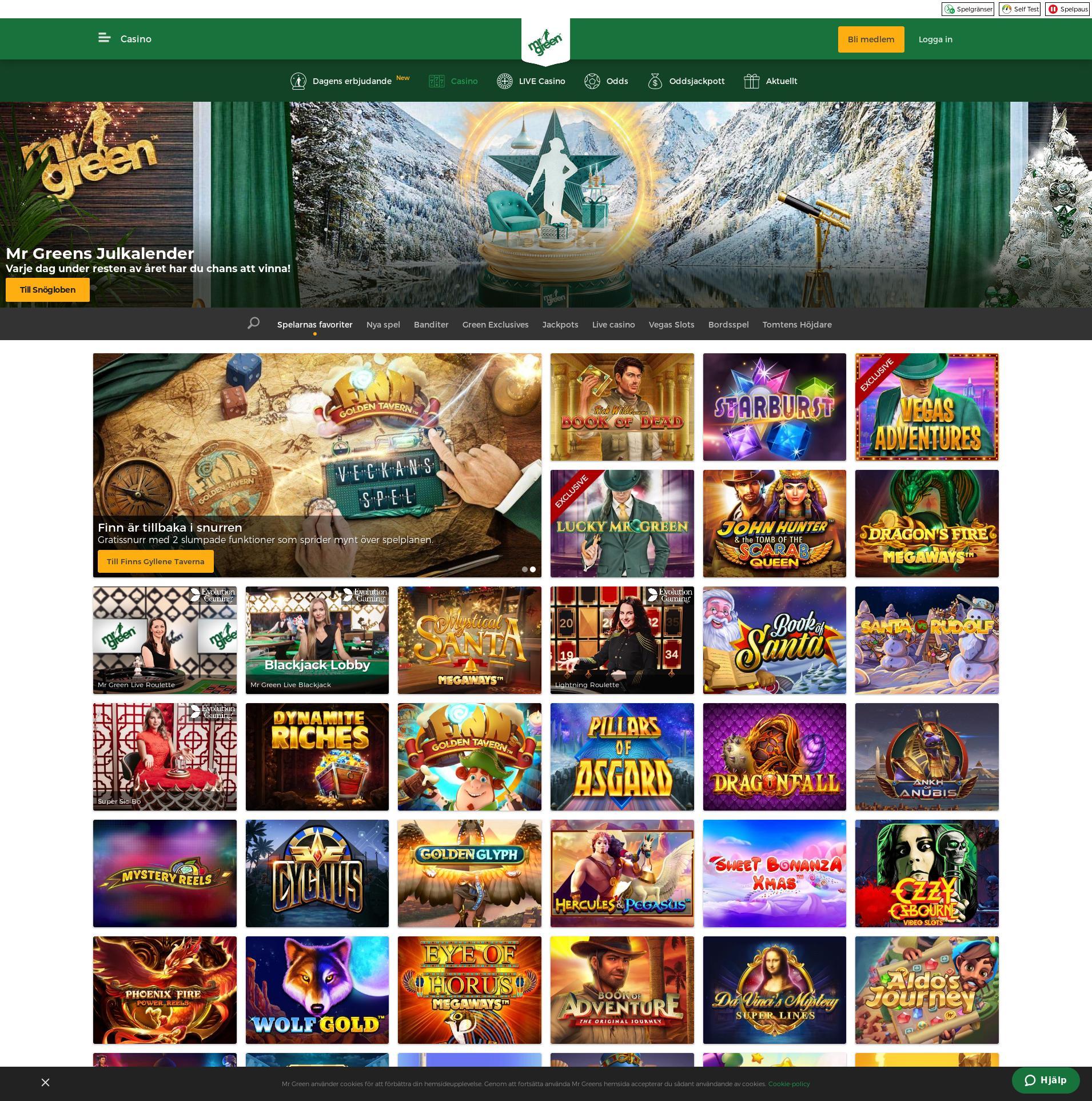 Casino skärm Lobby 2019-12-13 för Sverige
