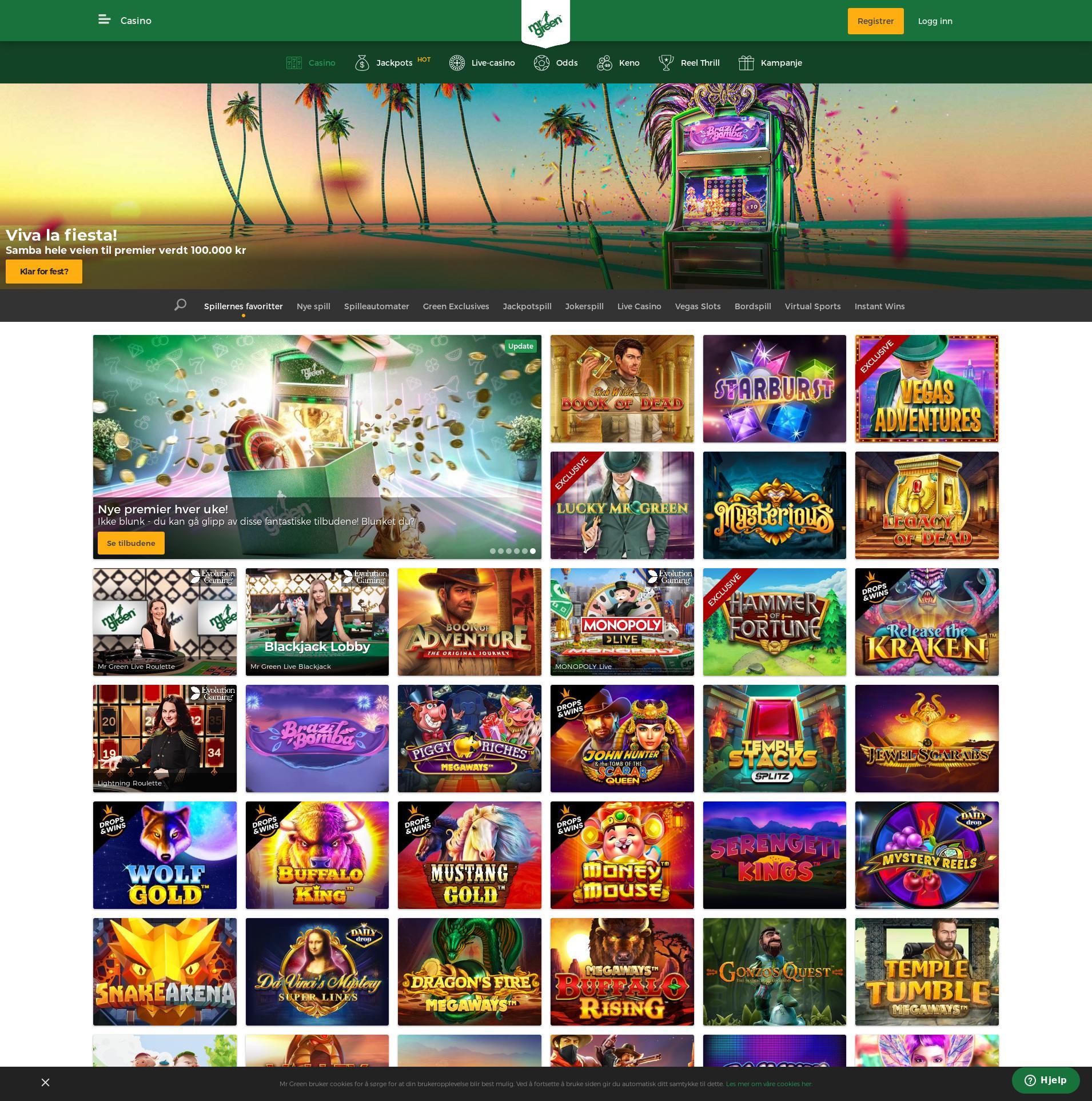 Casino skjerm Lobby 2020-02-22 til Norge