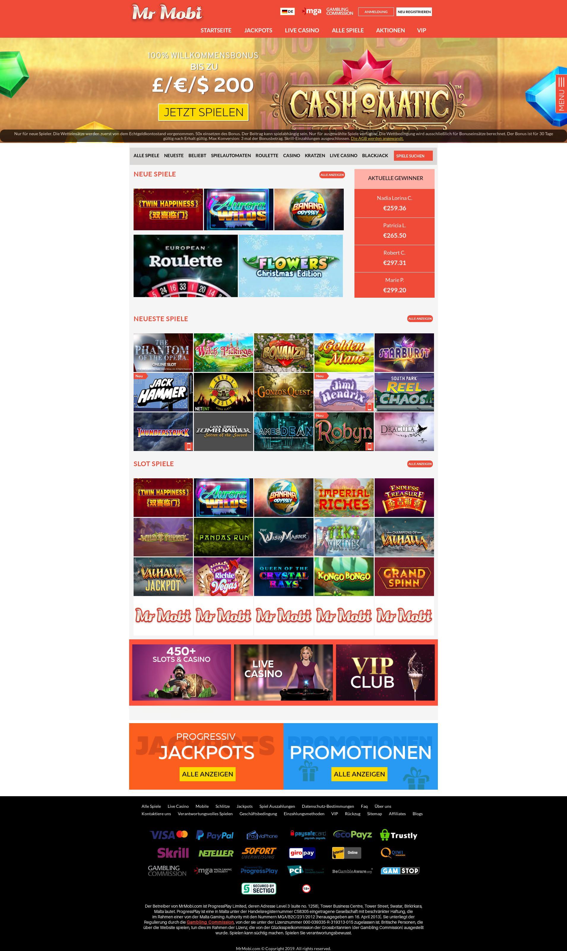Casino screen Lobby 2019-09-21 for Germany