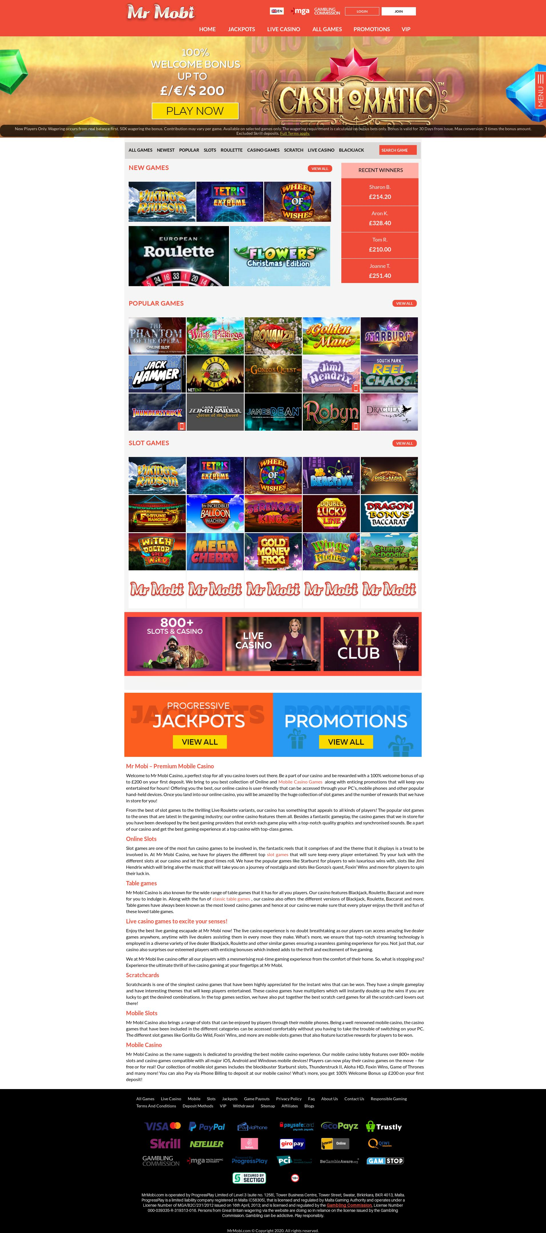 Casino screen Lobby 2020-02-27 for United Kingdom