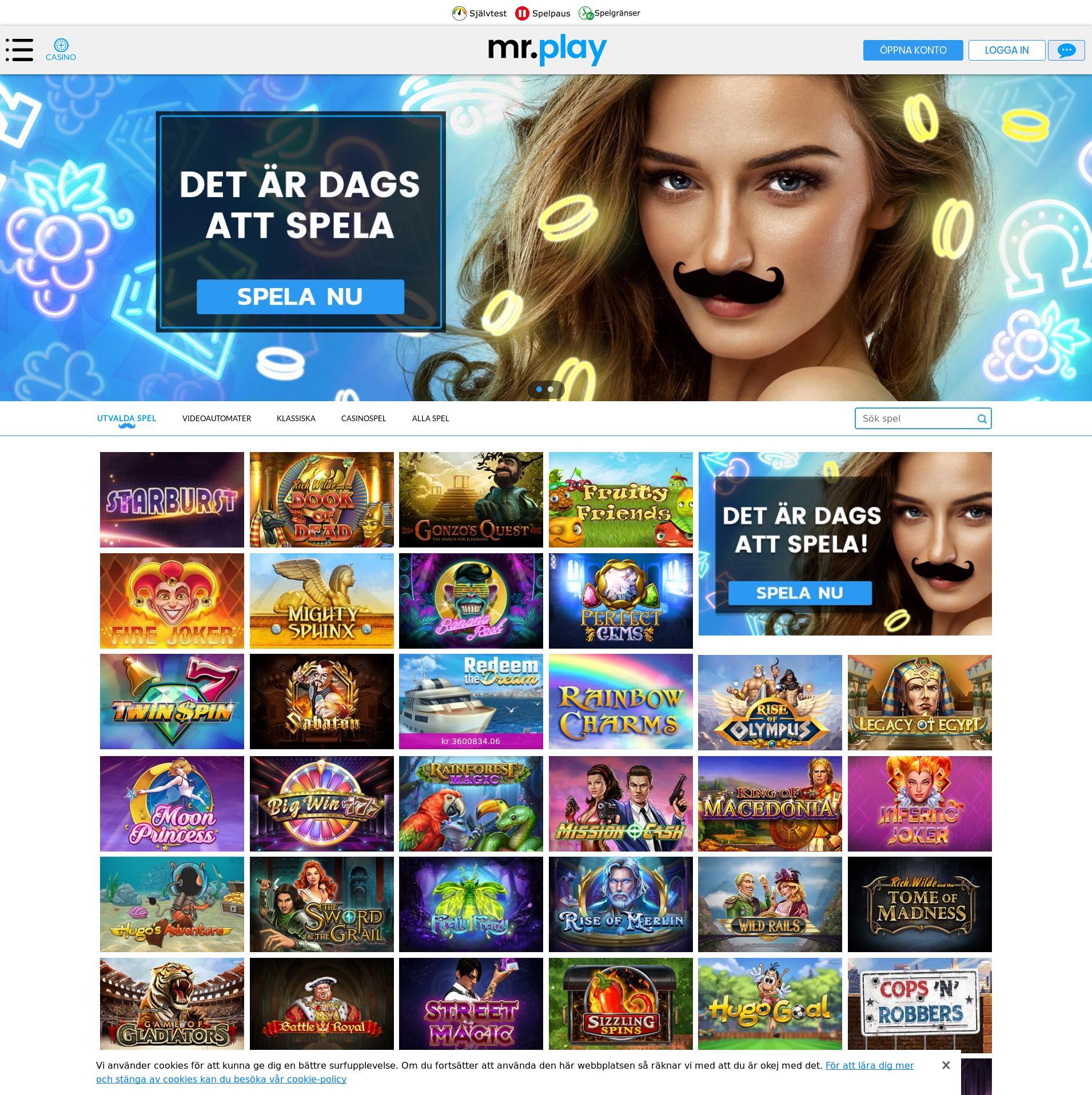 Casino skärm Lobby 2020-02-17 för Sverige
