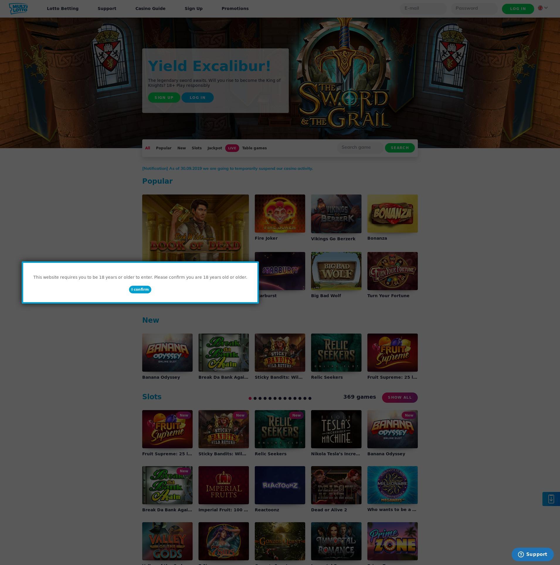 Casino screen Lobby 2019-10-20 for United Kingdom