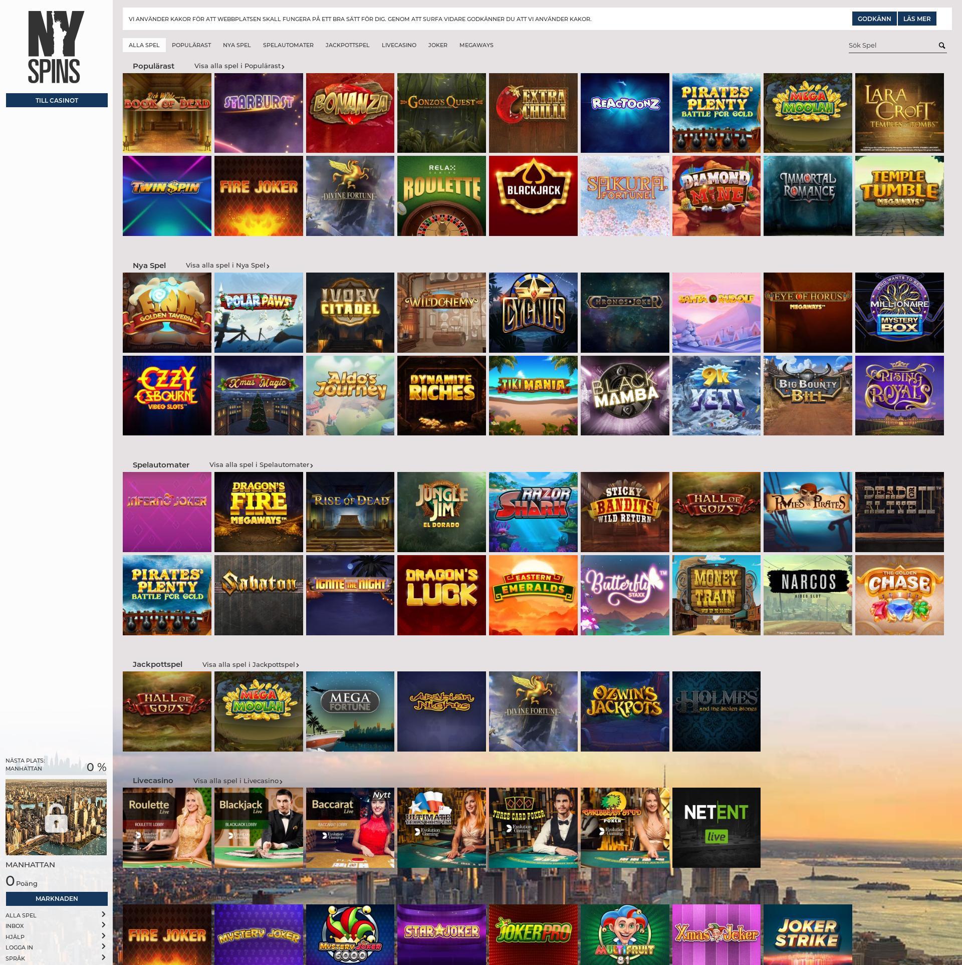 Casino skärm Lobby 2019-12-05 för Sverige