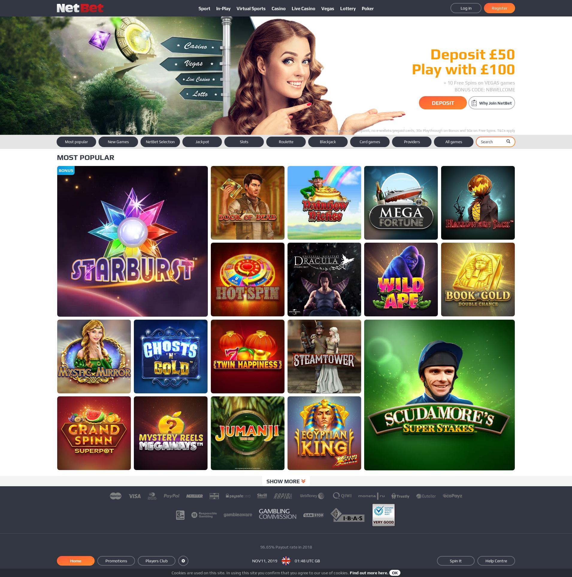 Casino screen Lobby 2019-11-11 for United Kingdom