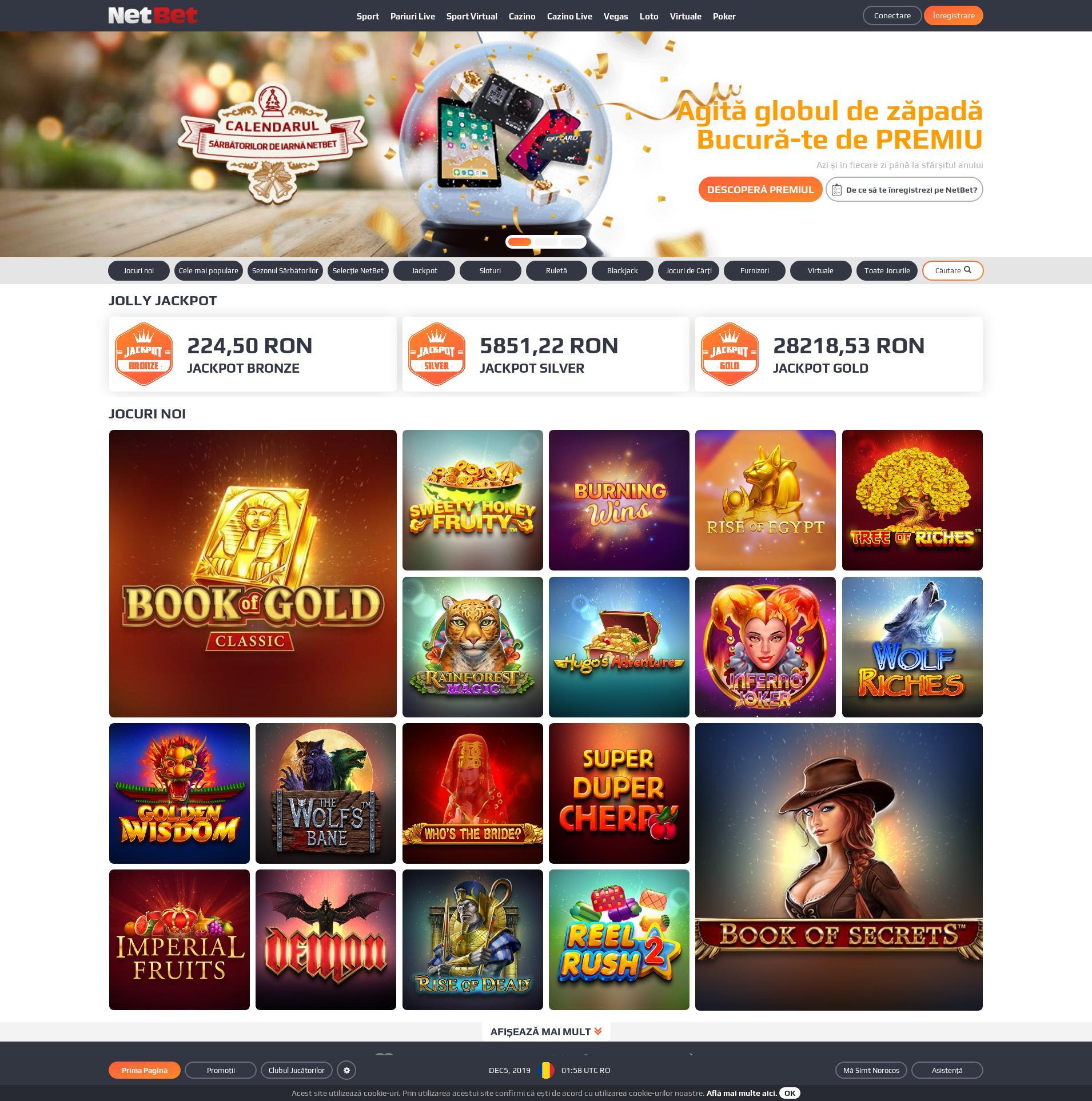 Casino screen Lobby 2019-12-05 for Romania