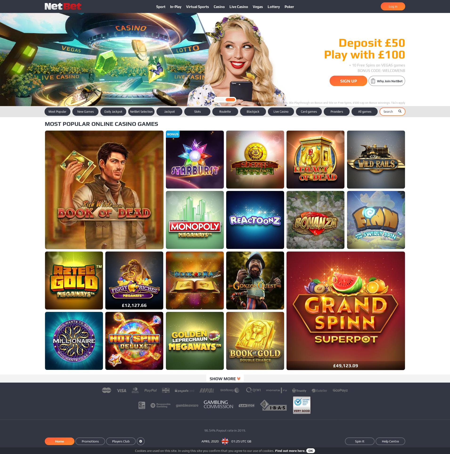 Casino screen Lobby 2020-04-06 for United Kingdom
