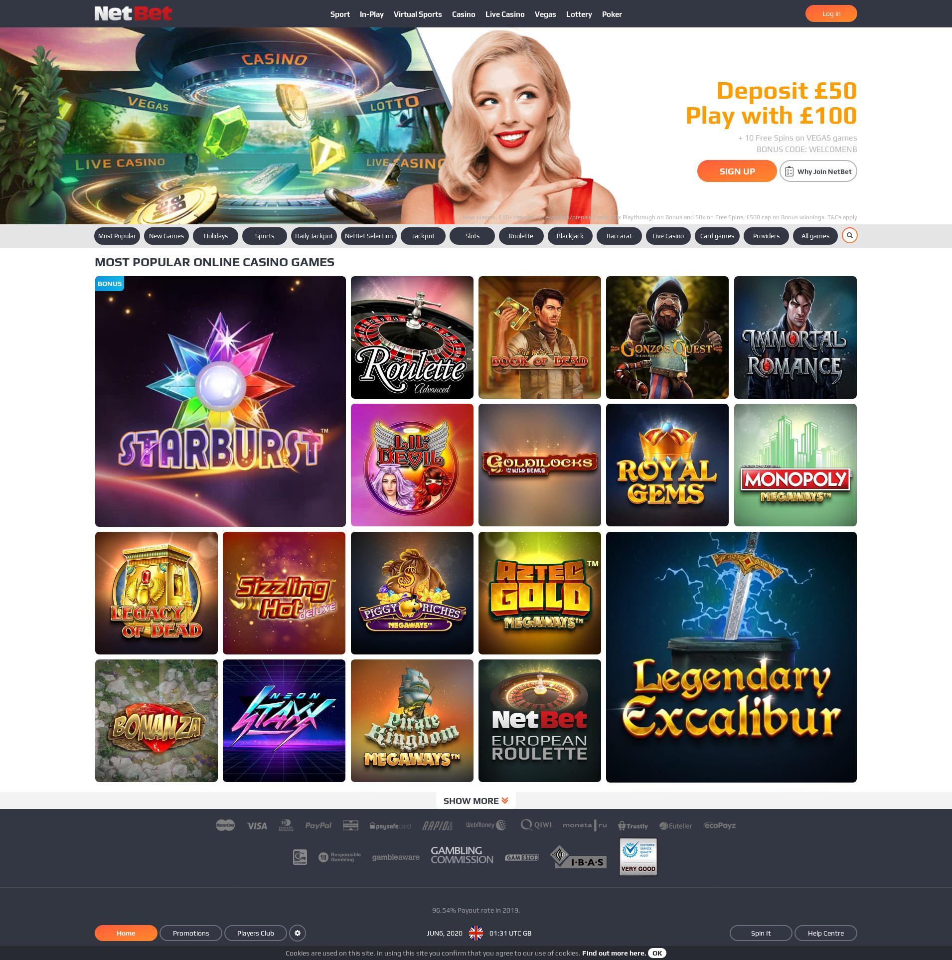 Καζίνο οθόνη Lobby 2020-06-06 Για Ηνωμένο Βασίλειο