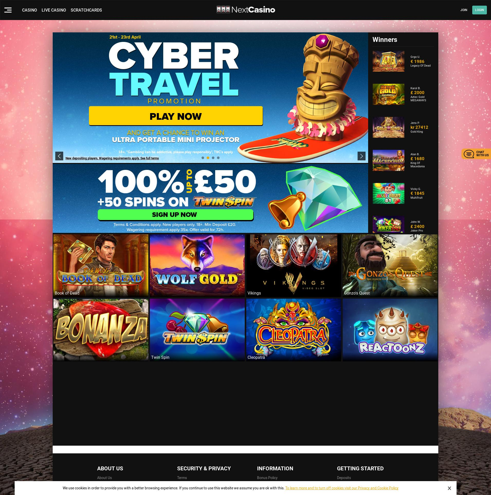 Casino screen Lobby 2020-04-08 for United Kingdom
