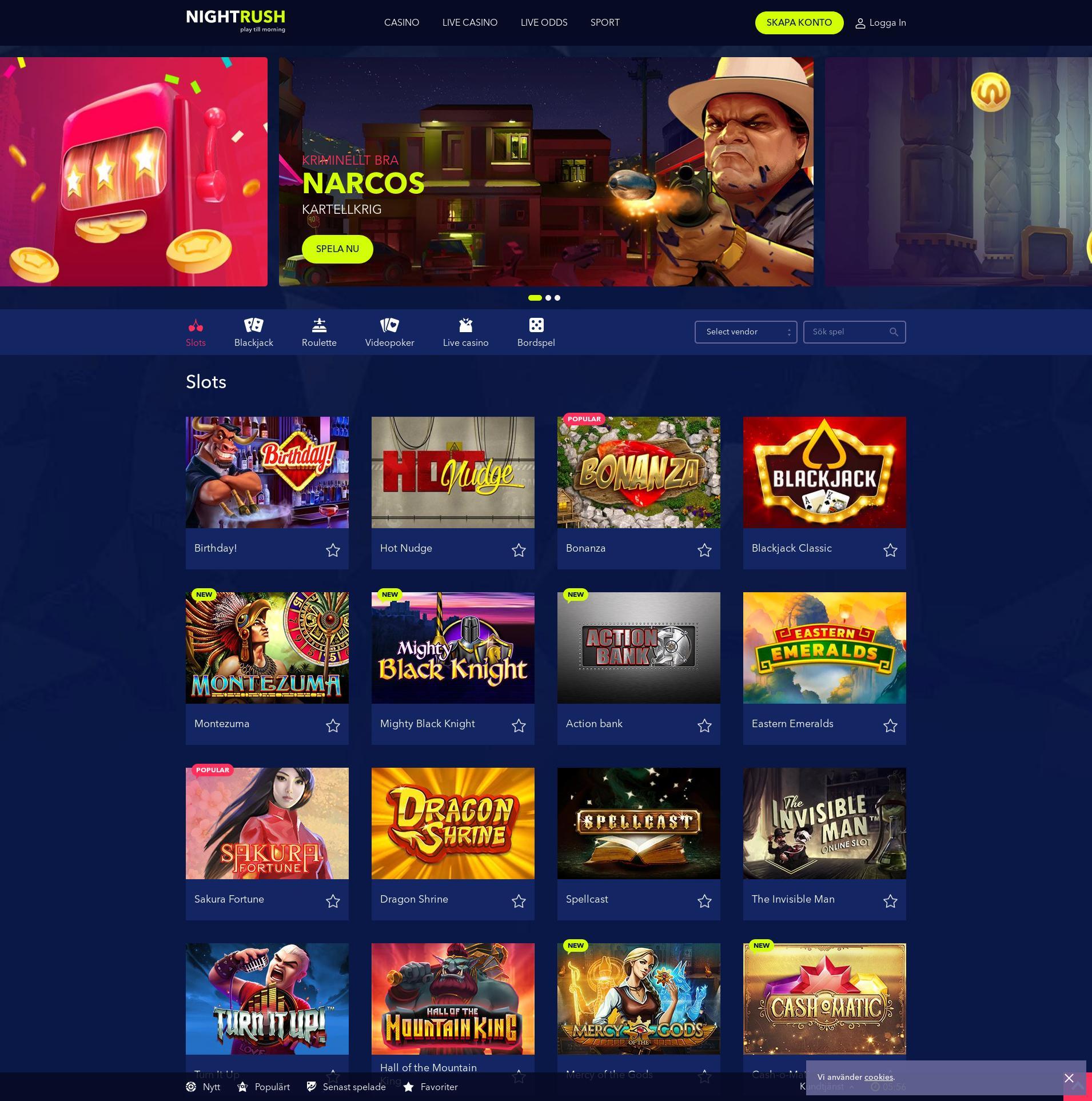Casino skärm Lobby 2019-08-23 för Sverige