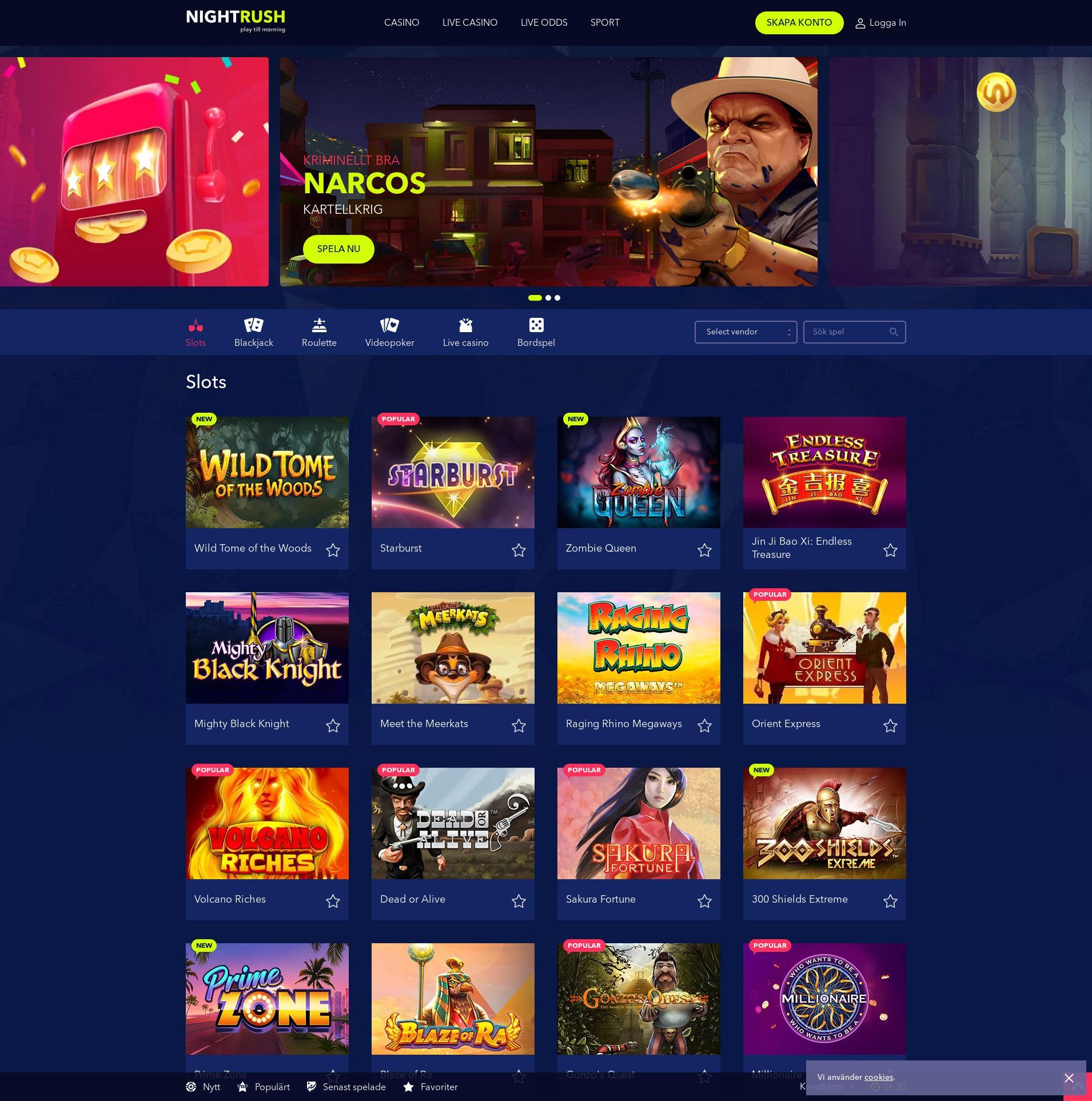 Casino skärm Lobby 2019-09-19 för Sverige