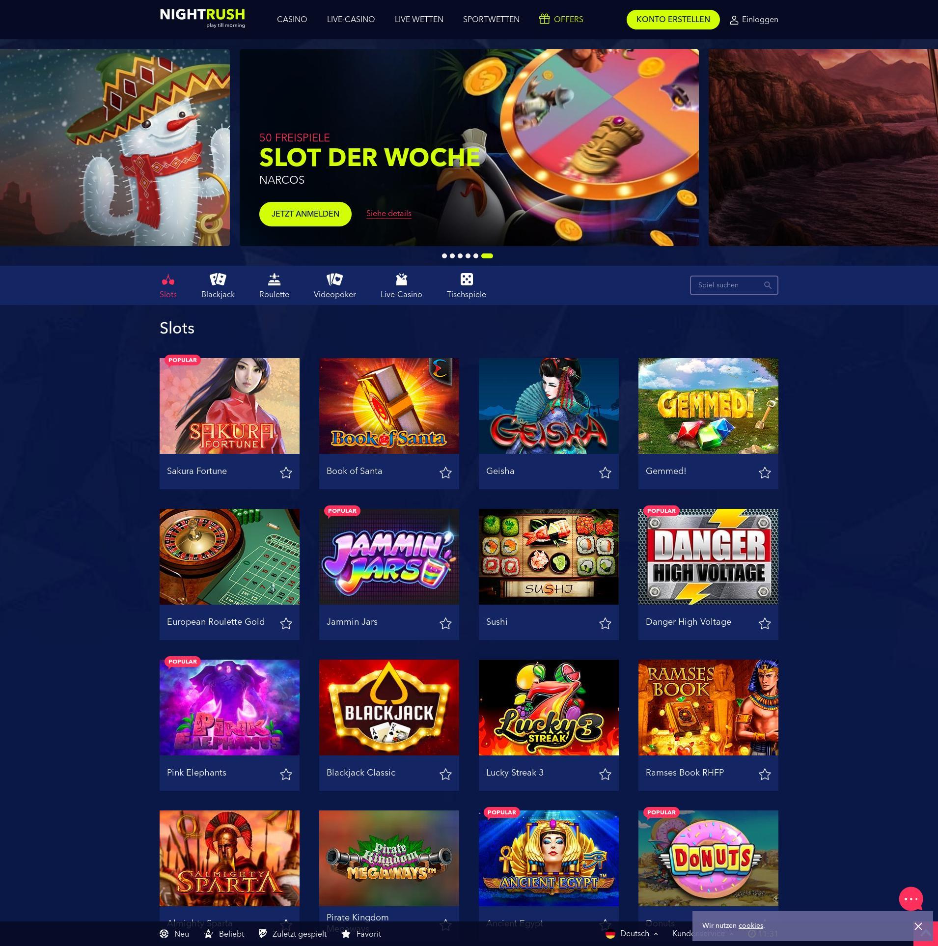 Casino Bildschirm Lobby 2020-01-26 zum Deutschland