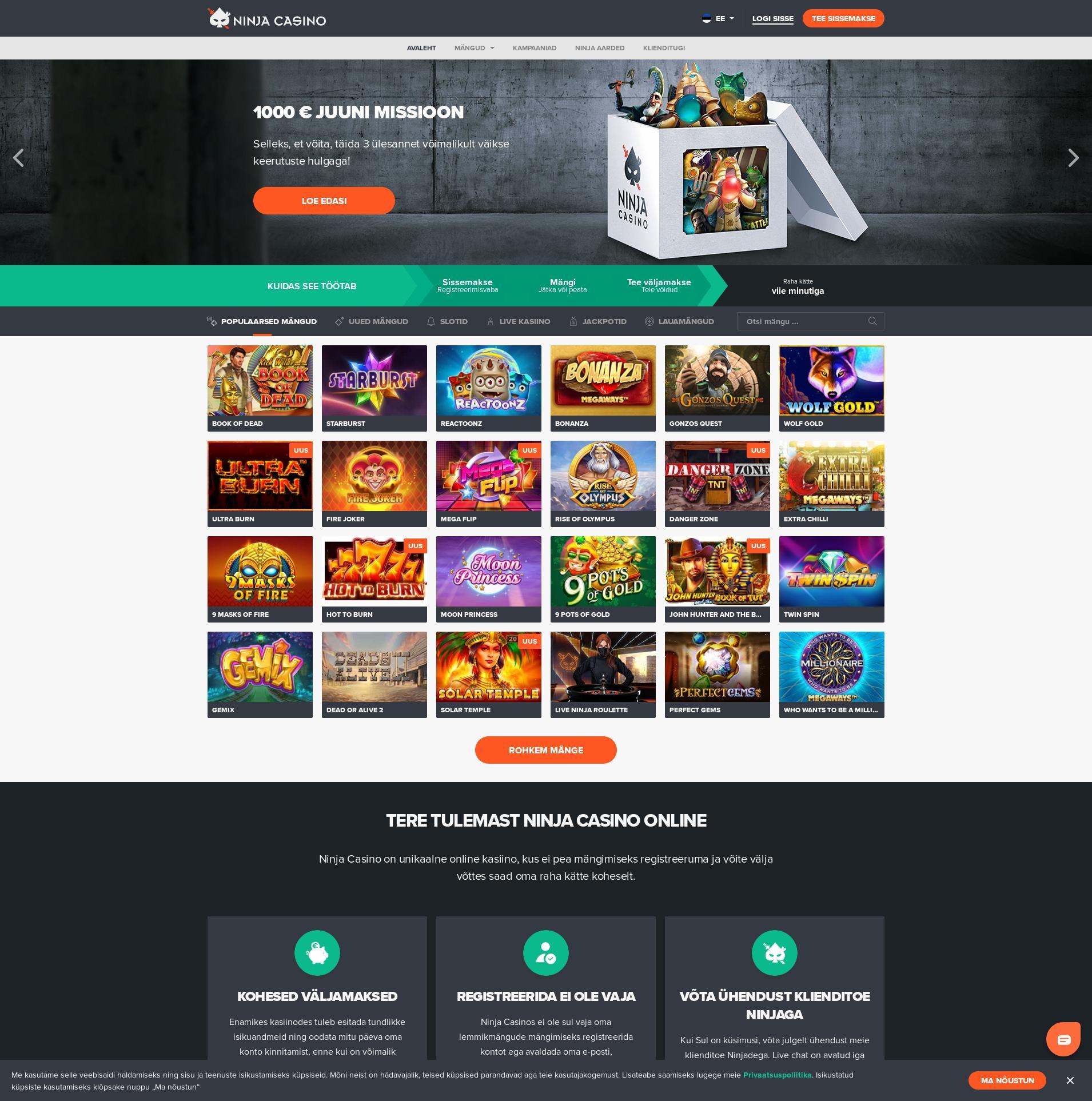 Casino screen Lobby 2020-06-06 pentru Estonia