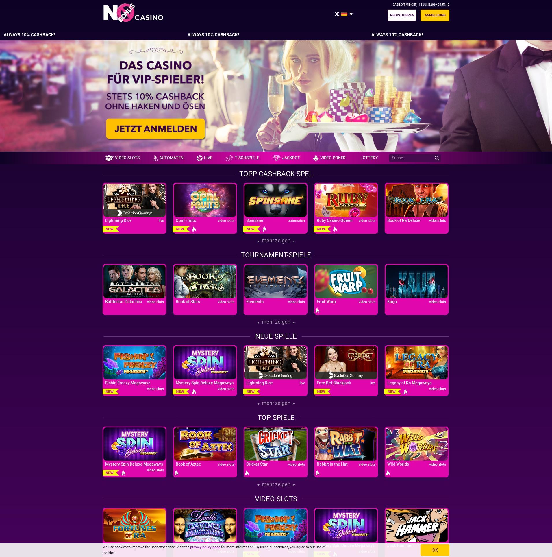 Casino screen Lobby 2019-06-15 for Germany