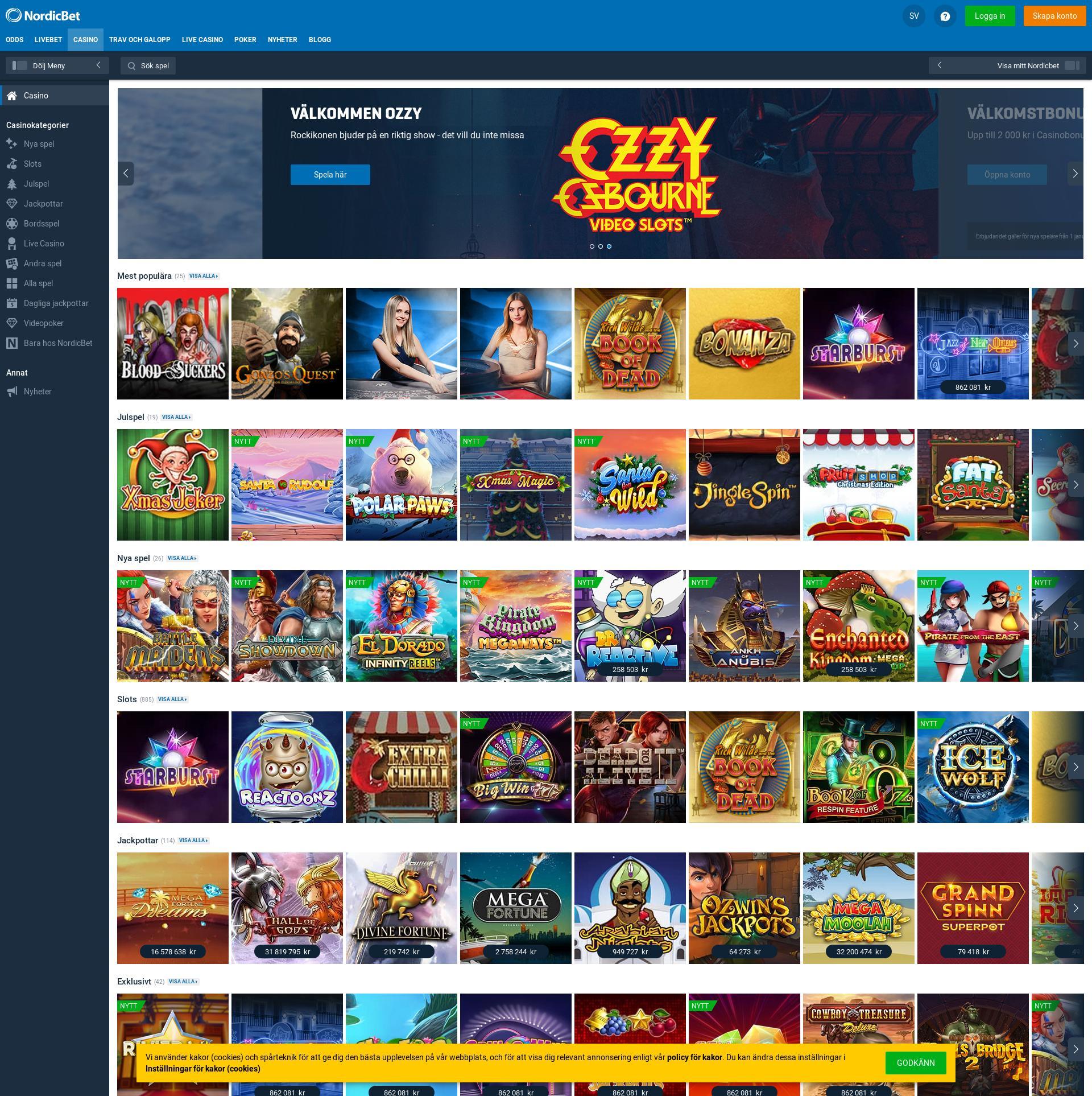 Casino skärm Lobby 2019-12-14 för Sverige