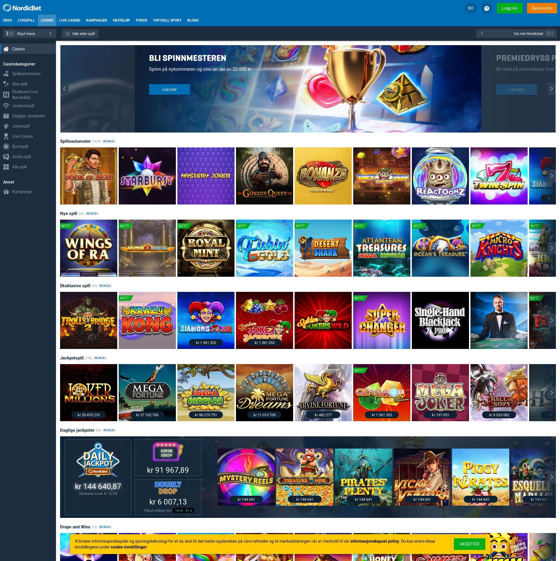 Casino skjerm Lobby 2020-02-28 til Norge