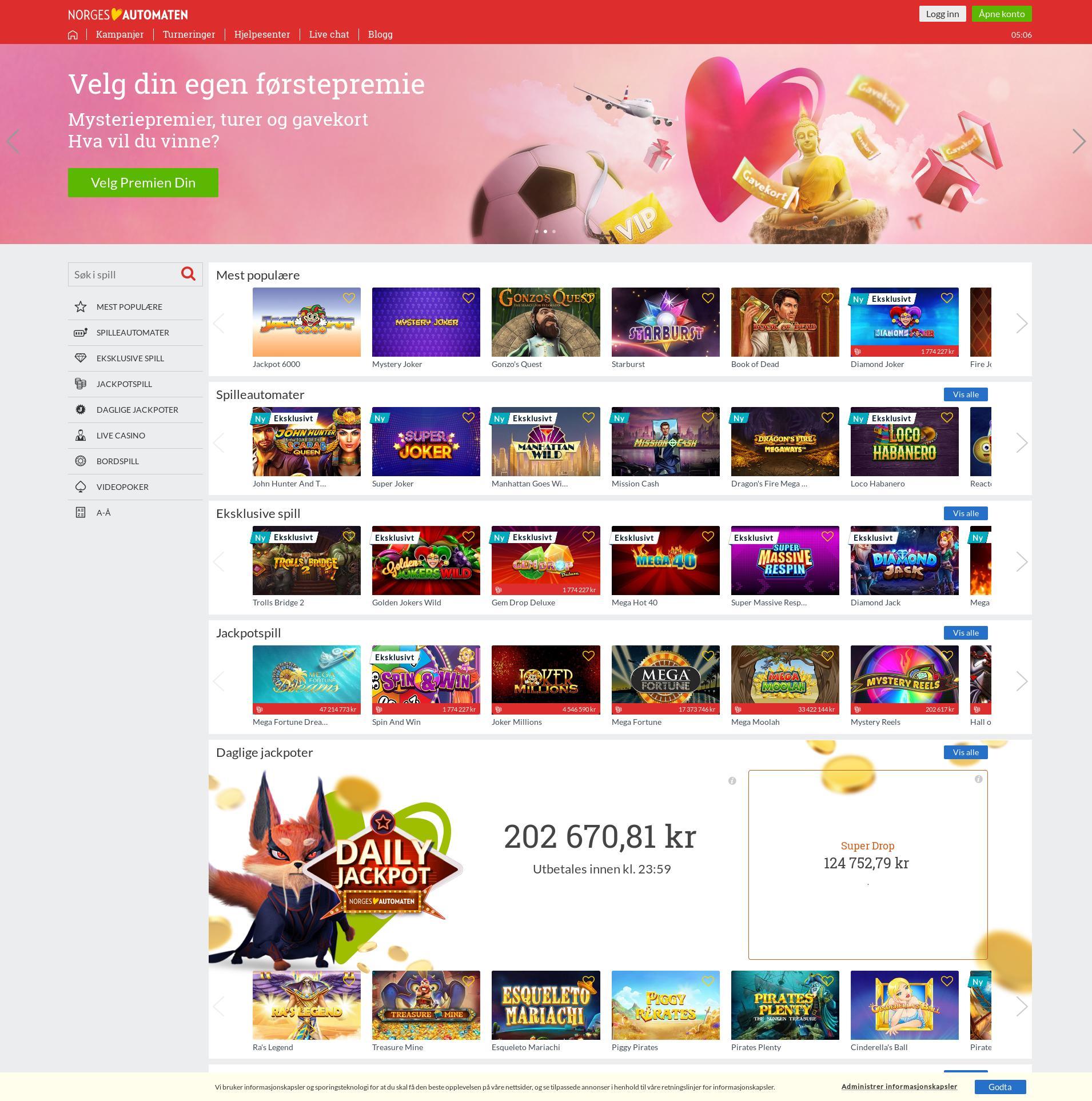 Casino skjerm Lobby 2019-09-21 til Norge