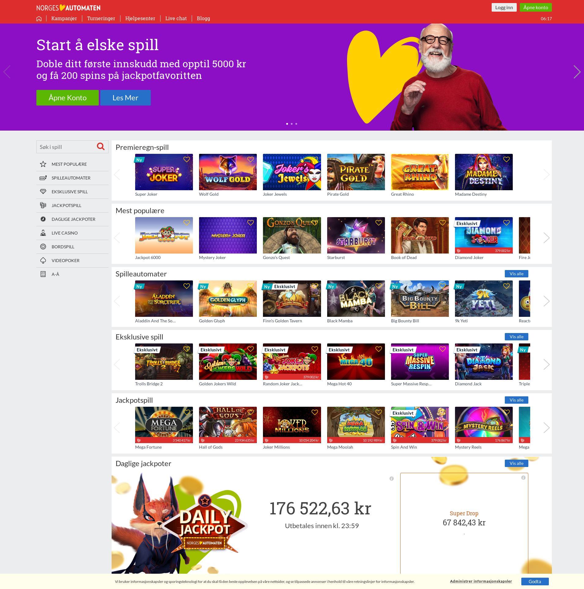 Casino skjerm Lobby 2019-11-16 til Norge