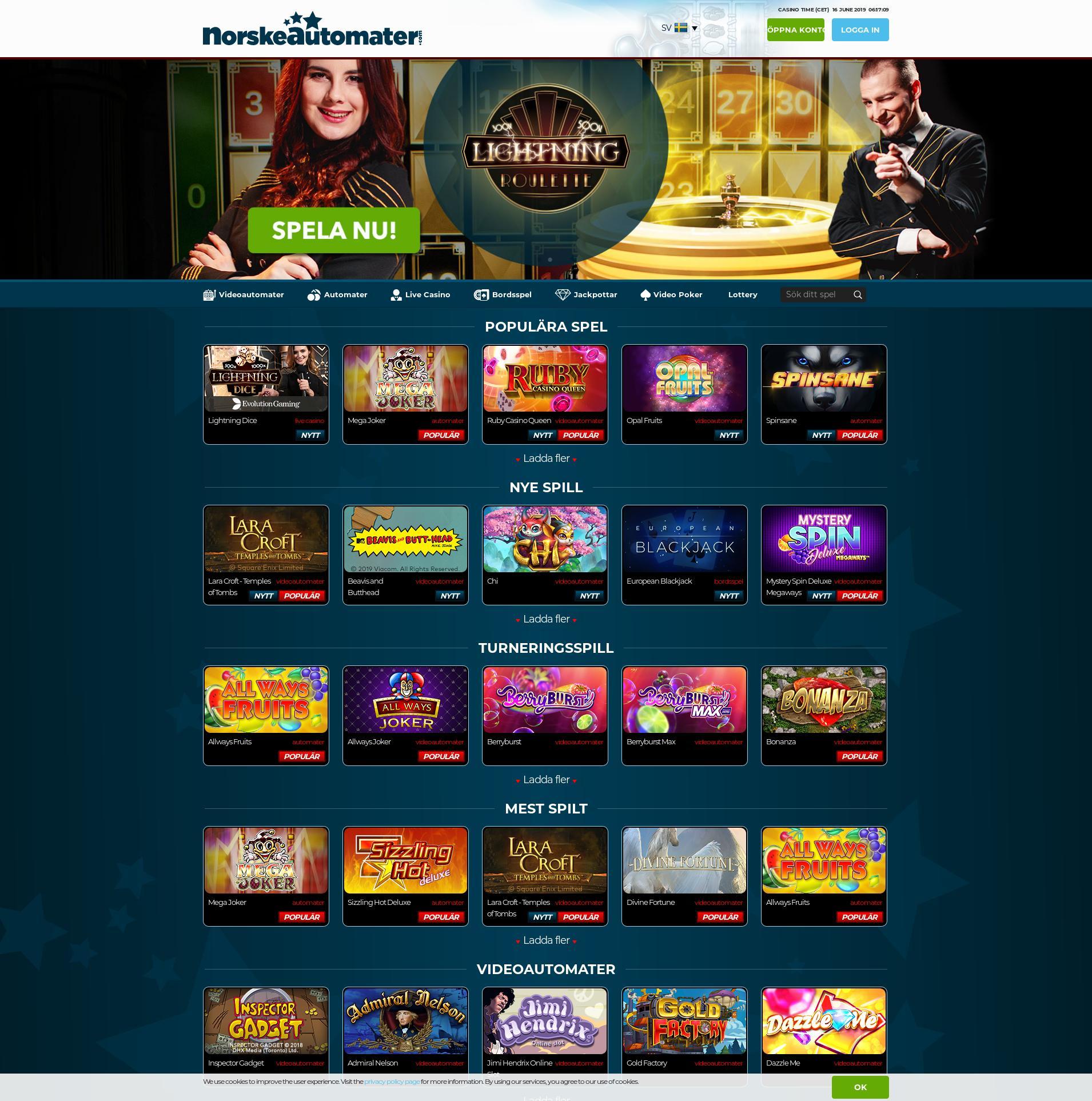 Casino skärm Lobby 2019-06-16 för Sverige