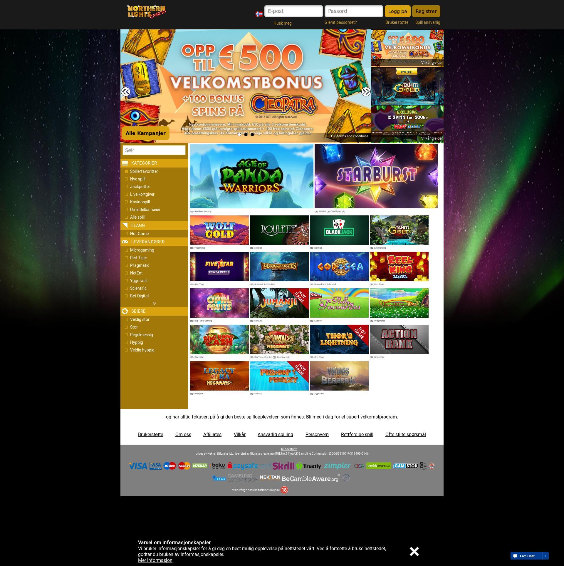Casino skjerm Lobby 2019-06-26 til Norge