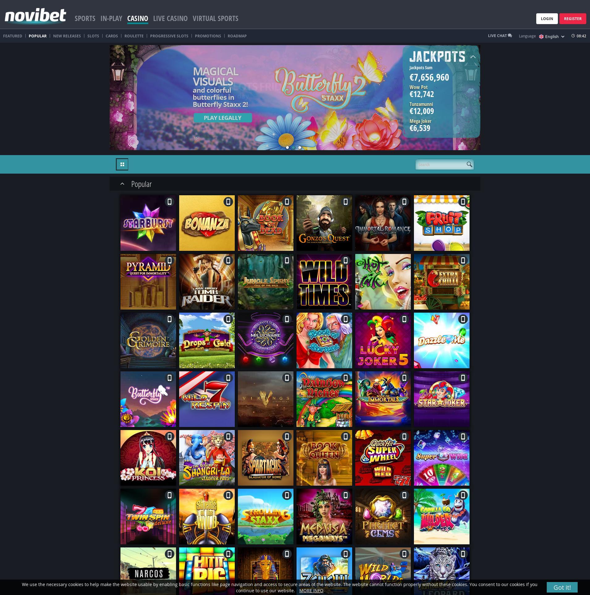 Casino skjerm Lobby 2019-08-23 til Norge