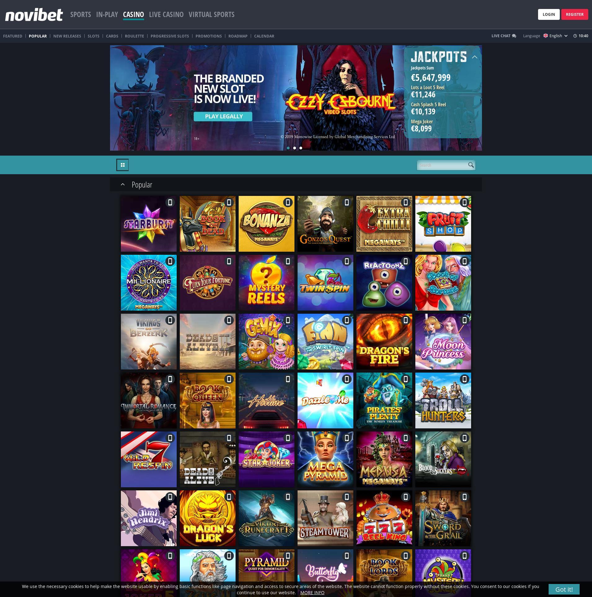 Casino skjerm Lobby 2019-11-22 til Norge