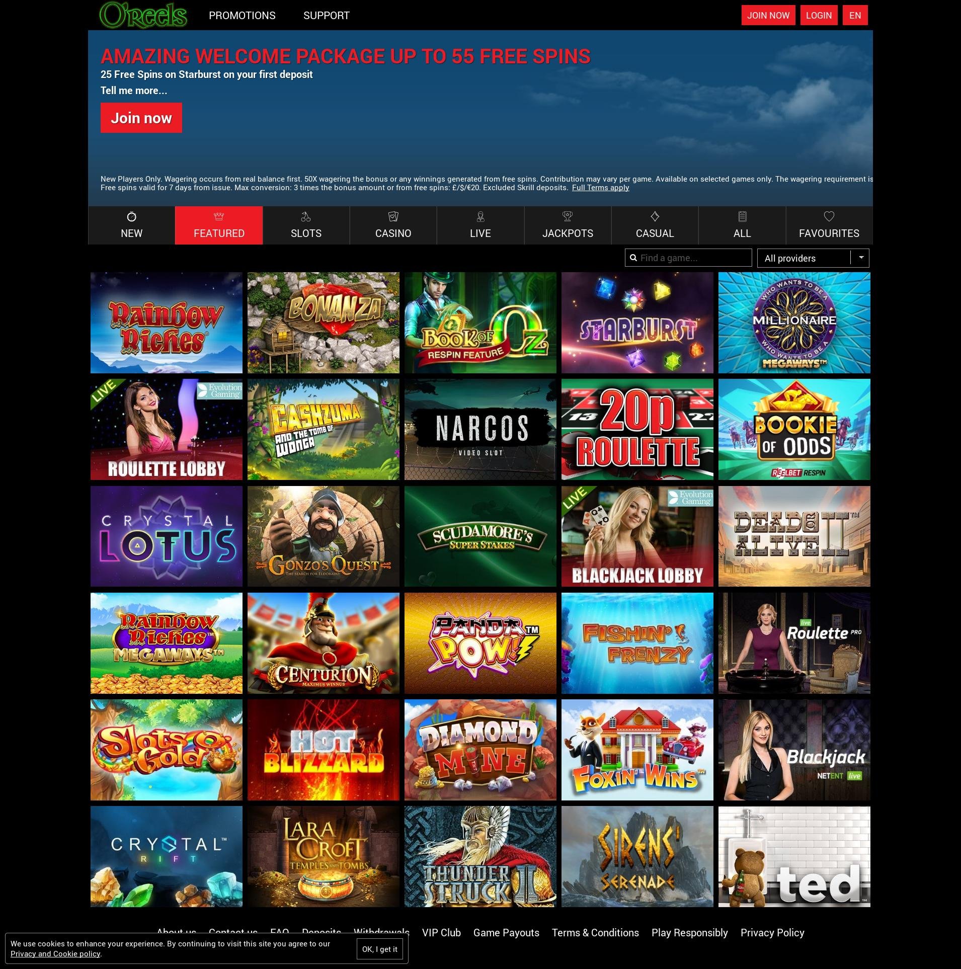 Casino screen Lobby 2019-08-17 for United Kingdom