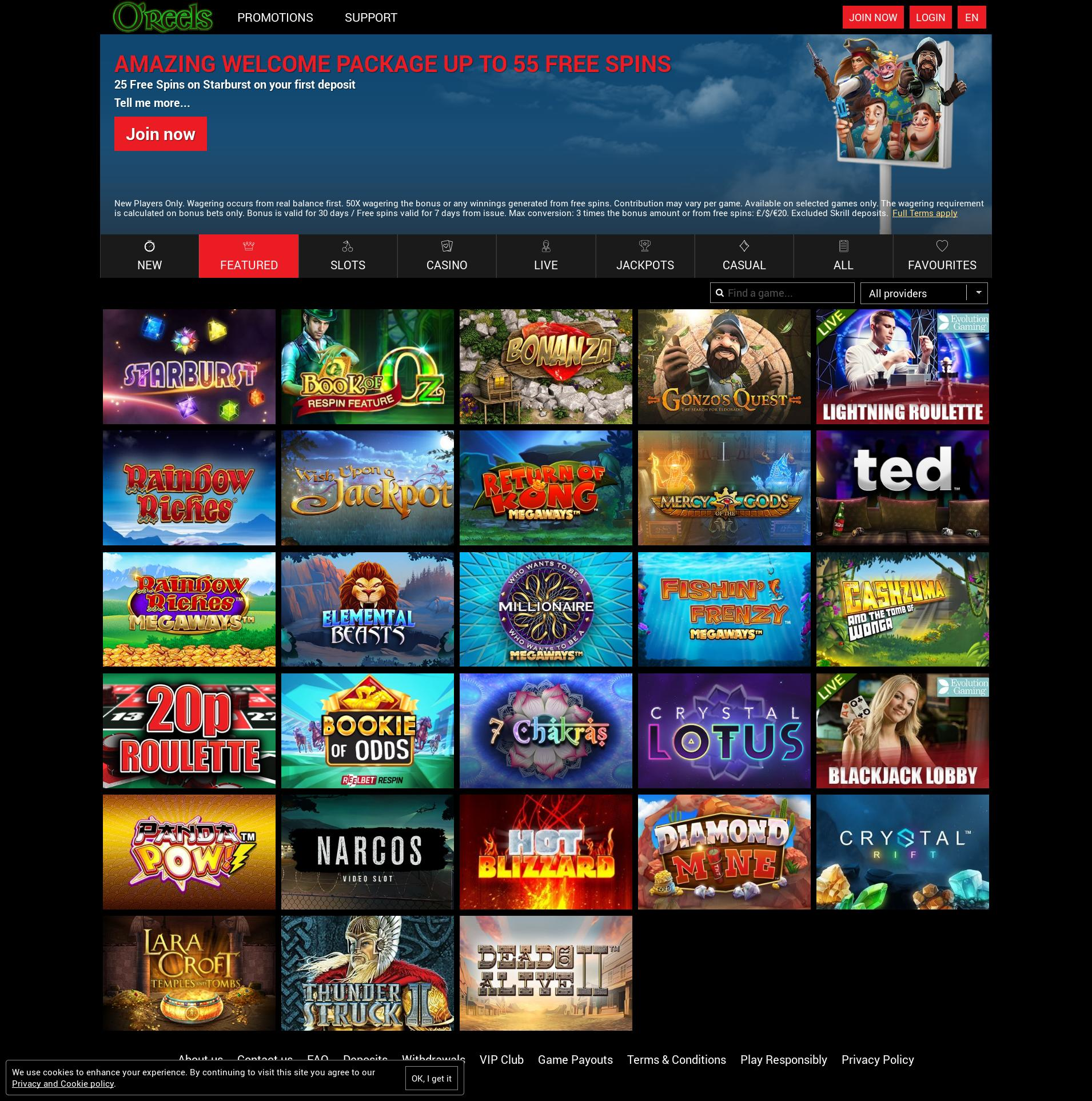 Casino screen Lobby 2019-10-13 for United Kingdom