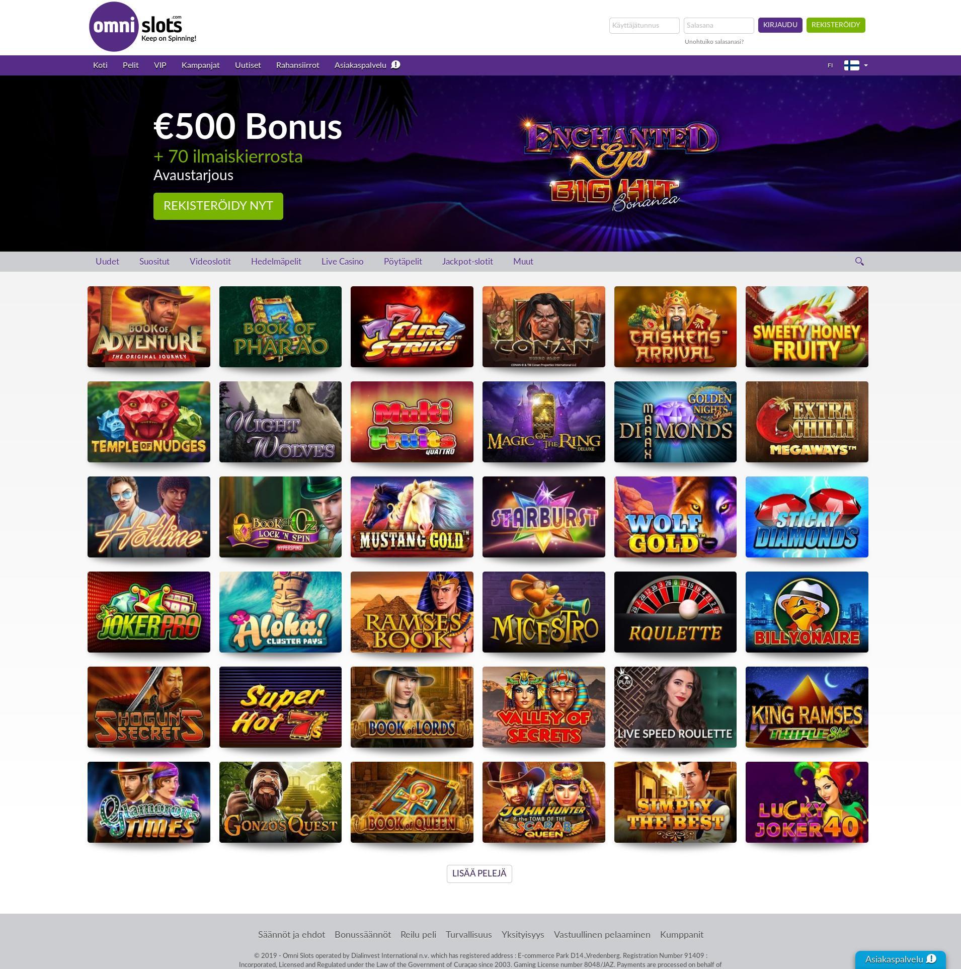 Casino-näyttö Lobby 2019-10-18 varten Suomi