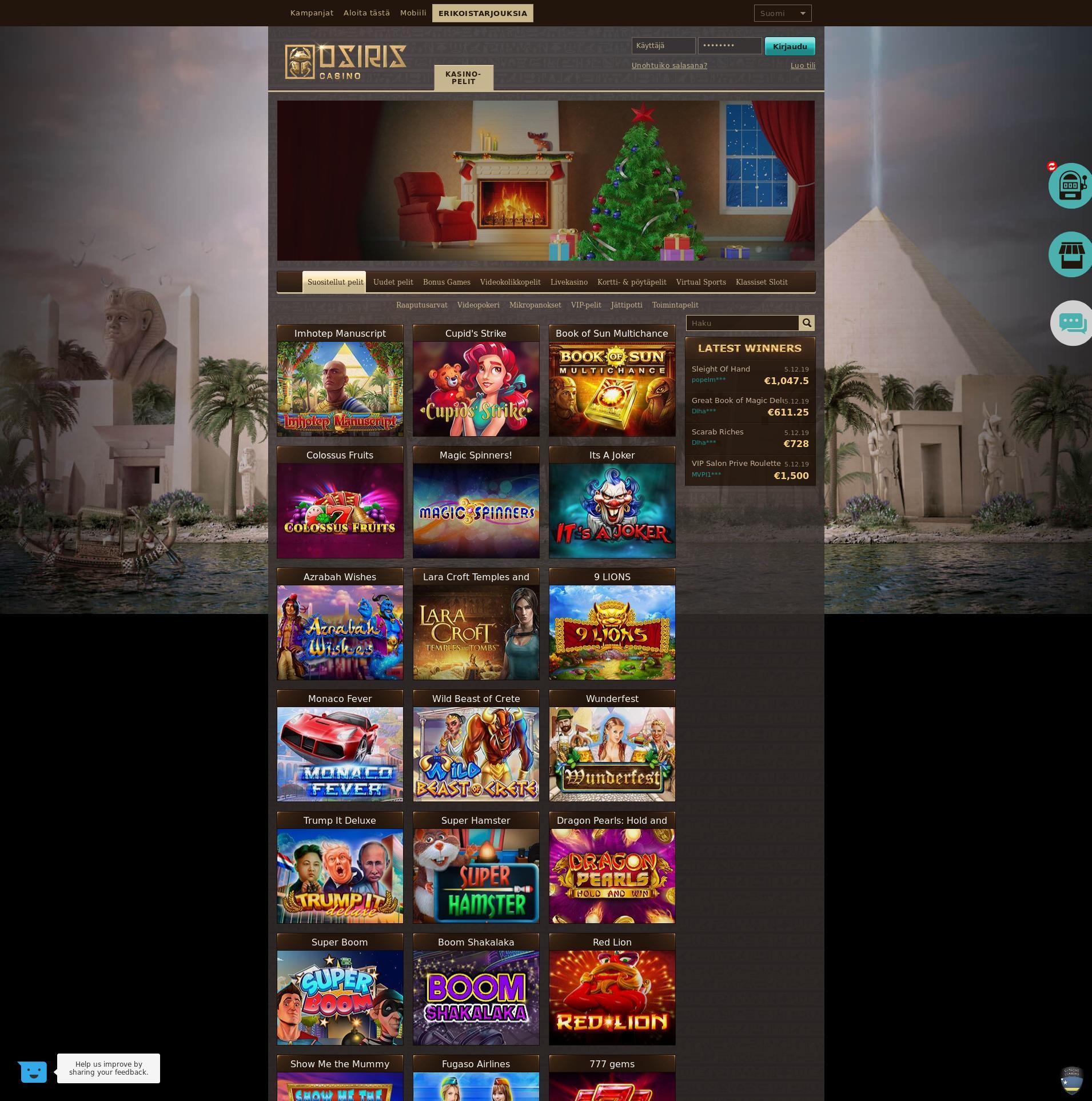 Casino-näyttö Lobby 2019-12-06 varten Suomi