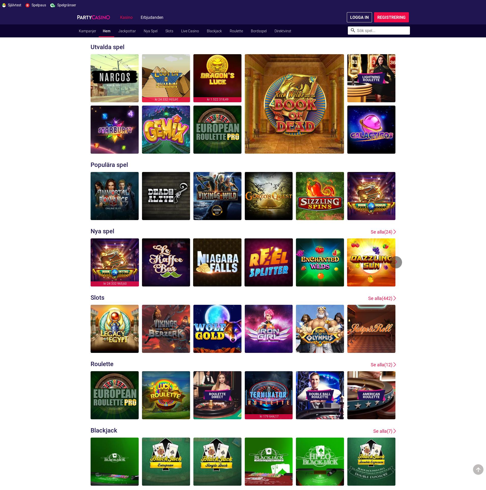 Casino screen Lobby 2019-07-20 for Sweden