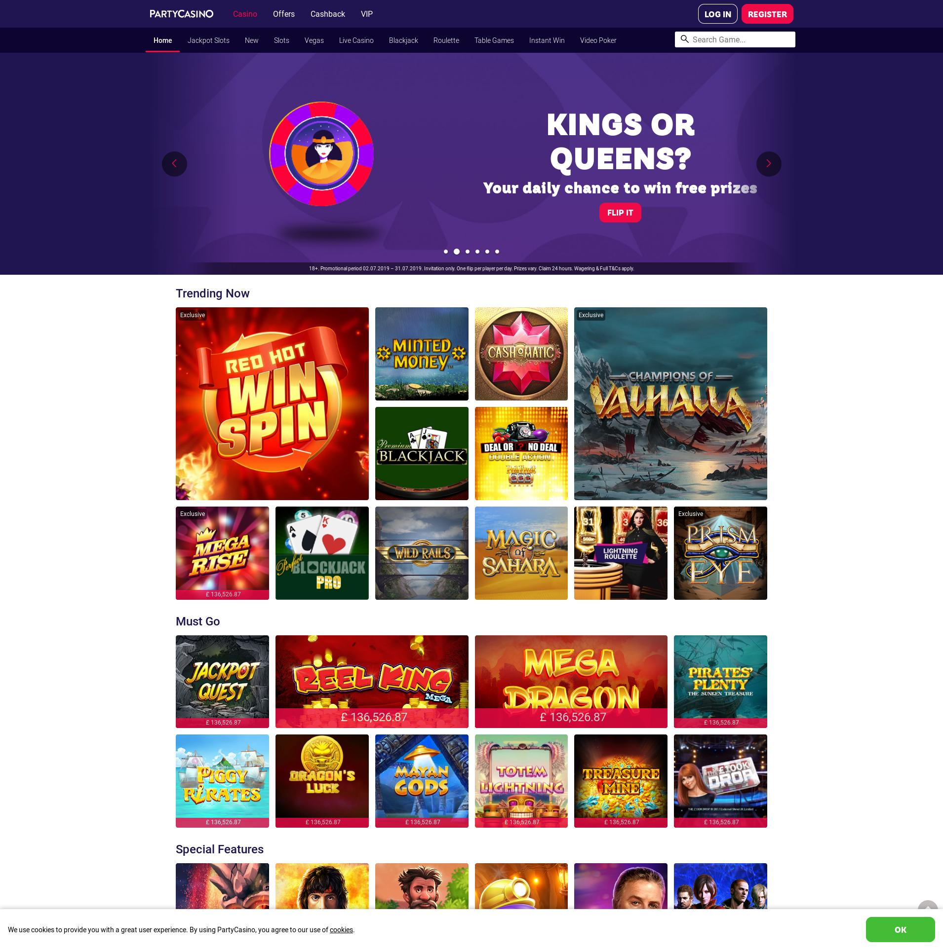 Casino screen Lobby 2019-07-21 for United Kingdom