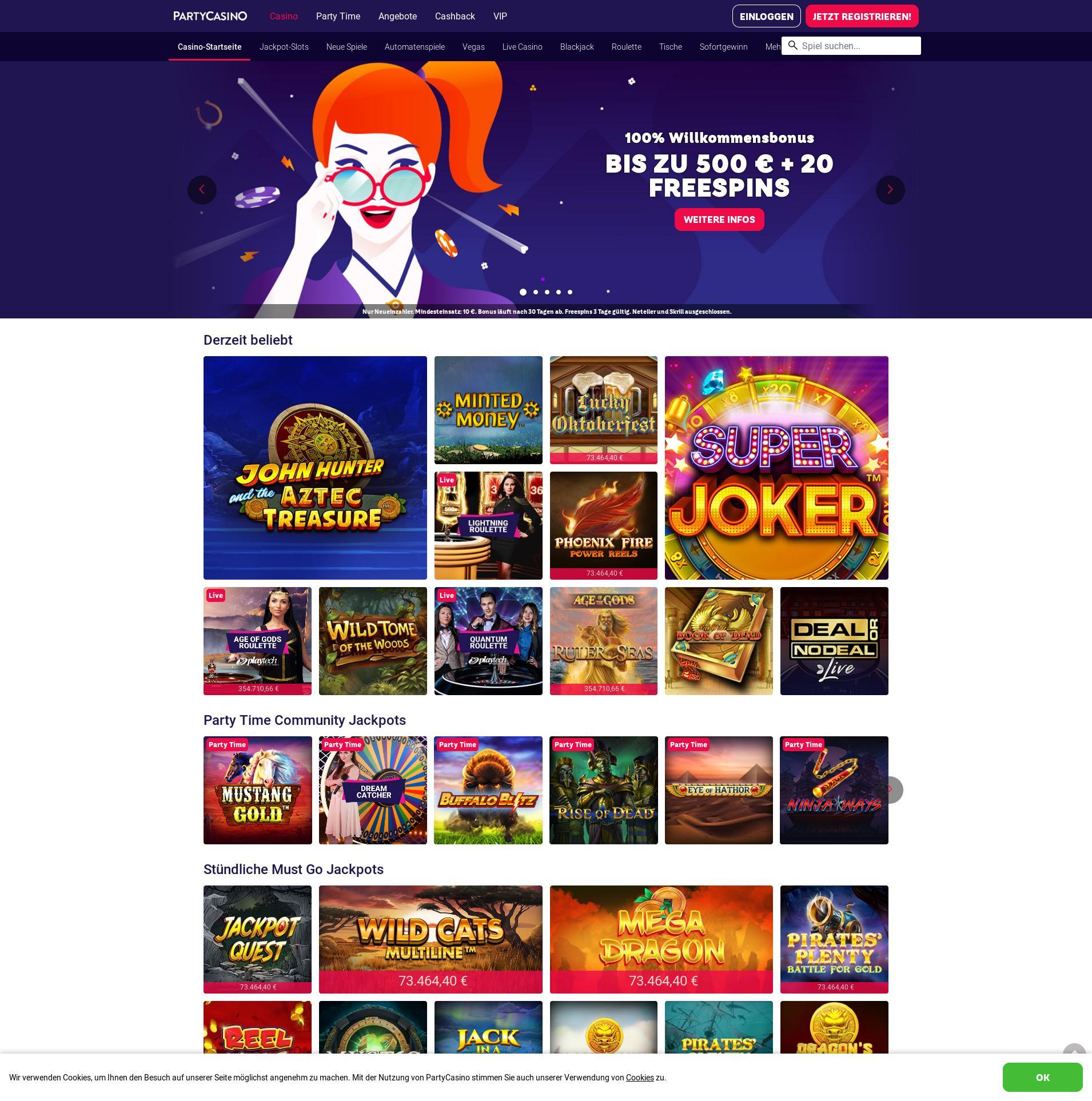 Casino Bildschirm Lobby 2019-09-19 zum Deutschland