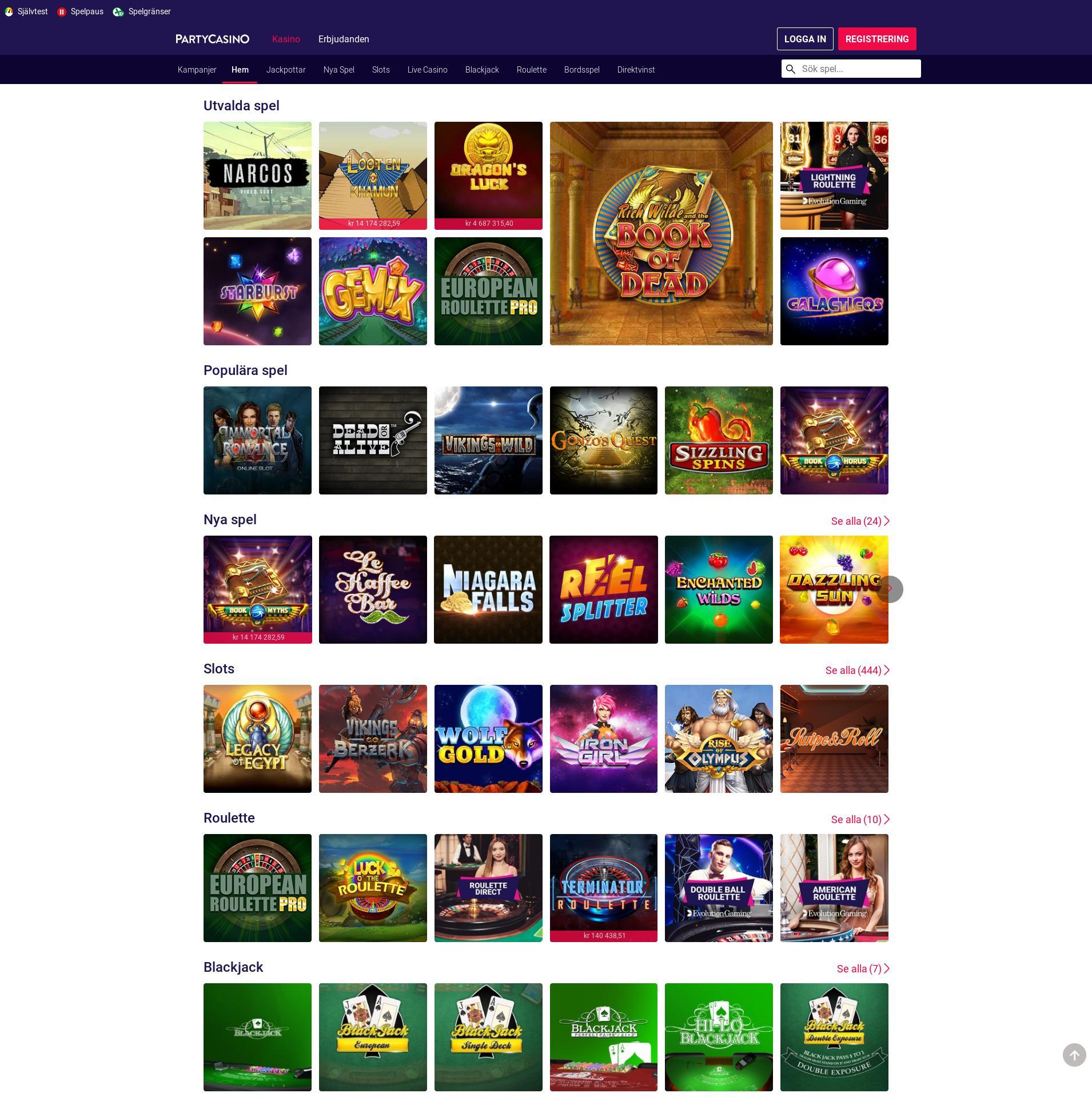 Casino skärm Lobby 2019-10-19 för Sverige
