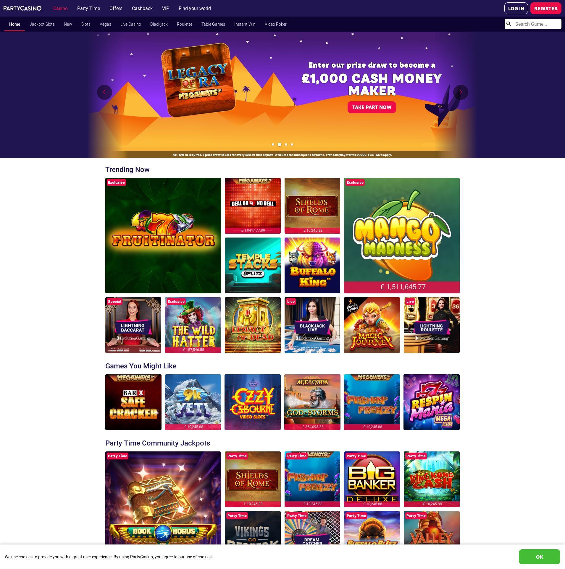 Casino screen Lobby 2020-01-26 for United Kingdom