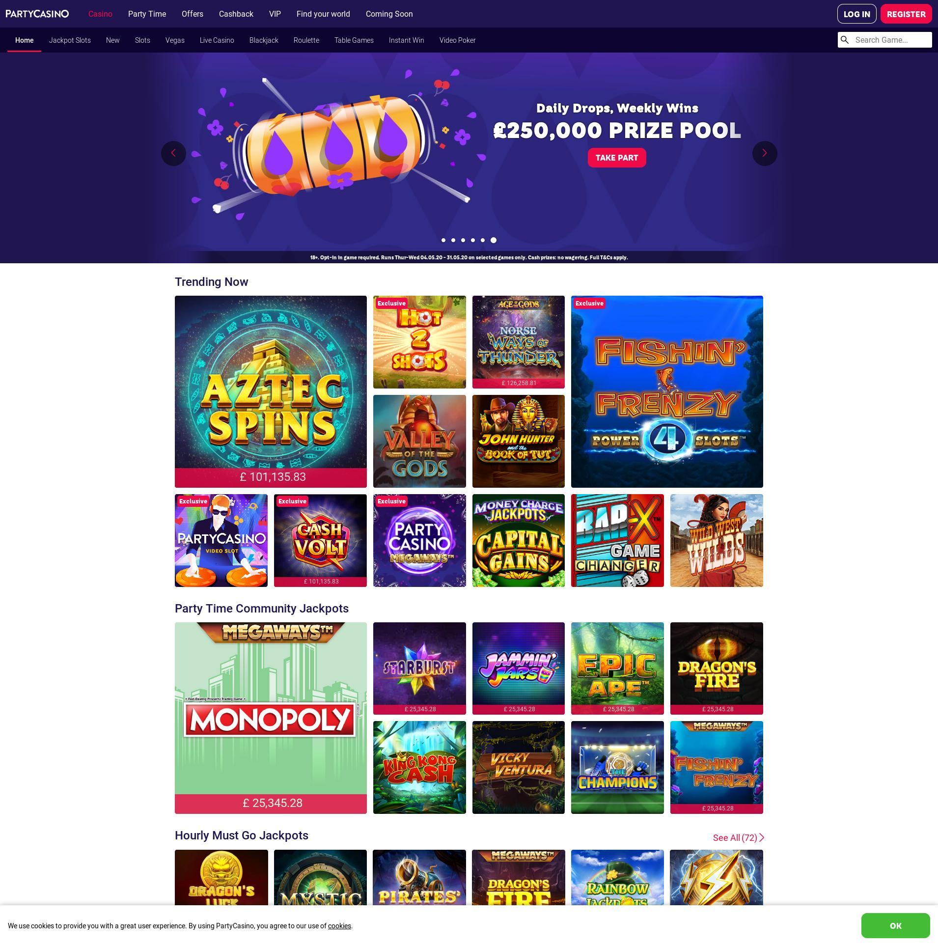 Casino scherm Lobby 2020-05-30 voor Verenigd Koningkrijk
