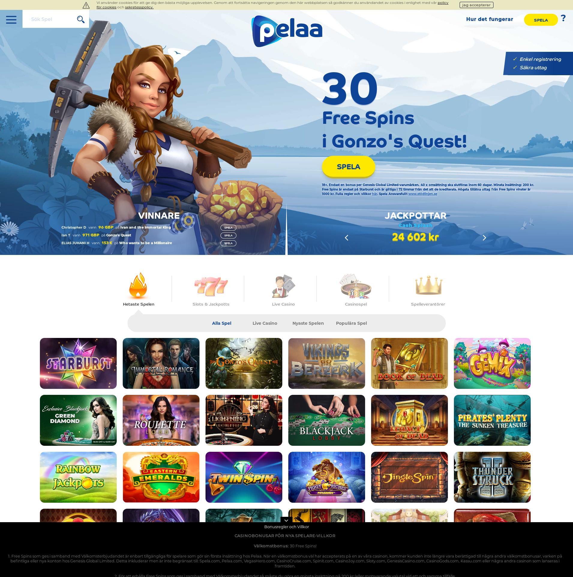 Casino screen Lobby 2020-02-17 for Sweden