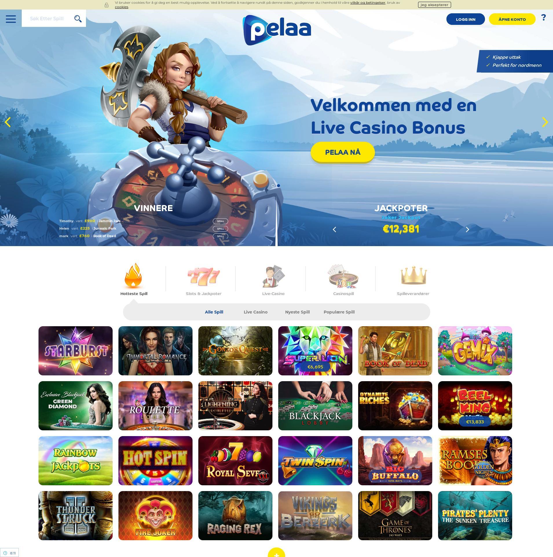 Casino skärm Lobby 2020-06-01 för Sverige