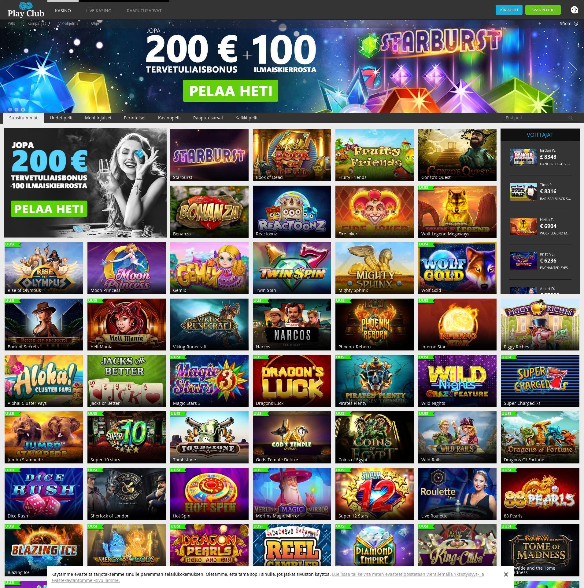 Casino-näyttö Lobby 2019-07-22 varten Suomi