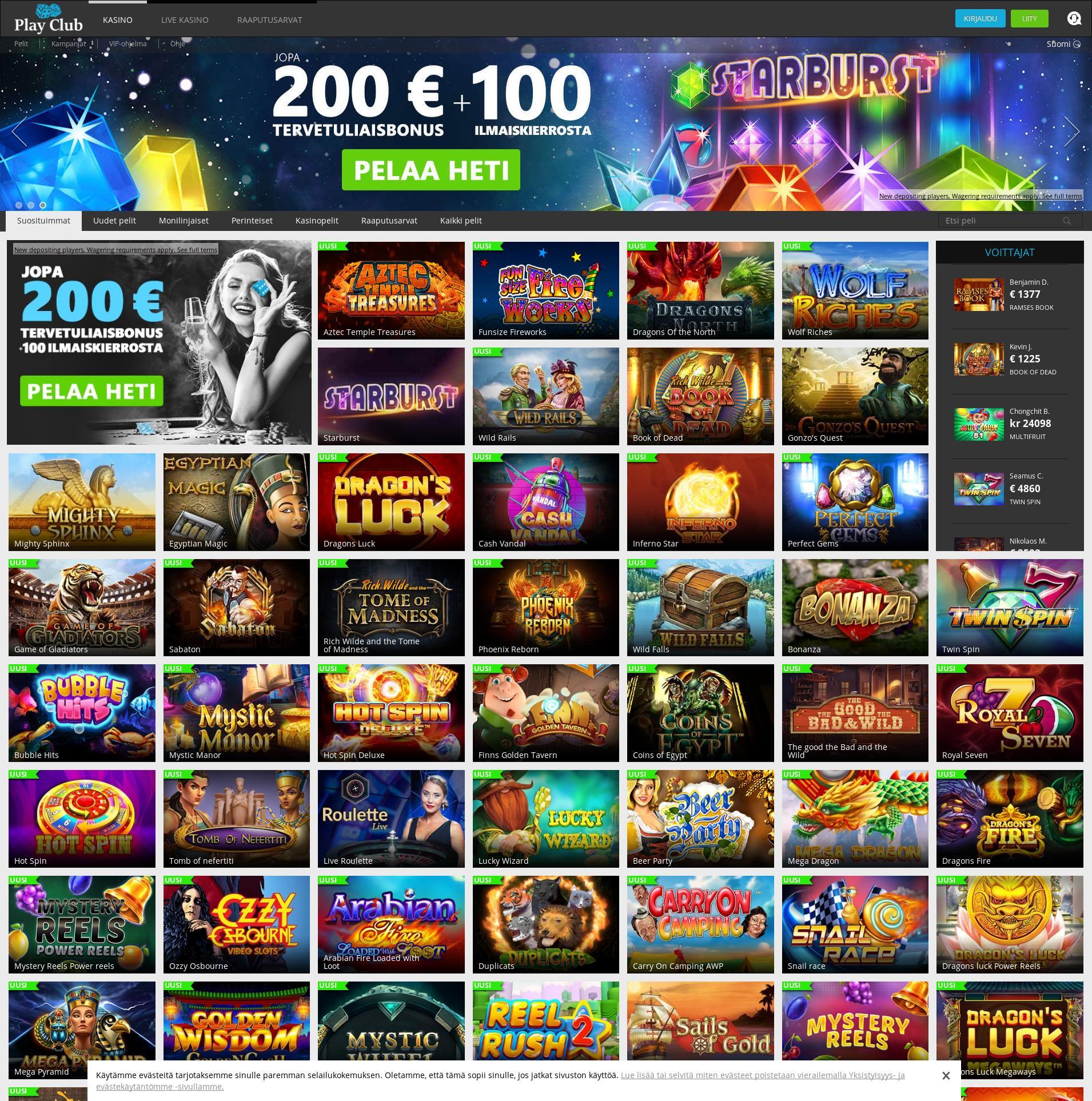 Casino-näyttö Lobby 2019-12-05 varten Suomi