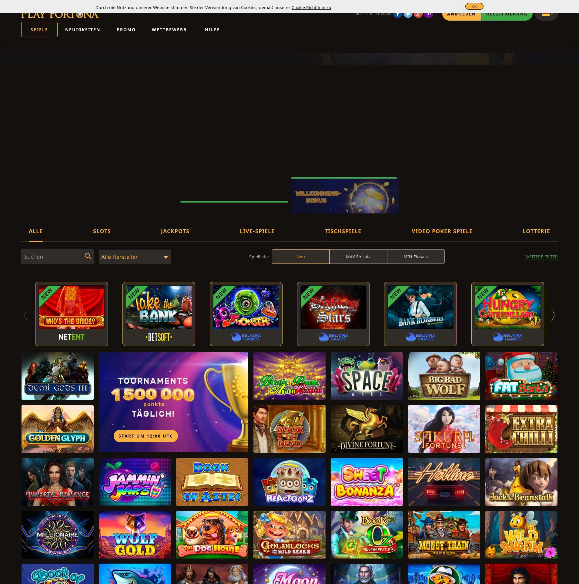 Casino Bildschirm Lobby 2019-11-14 zum Deutschland