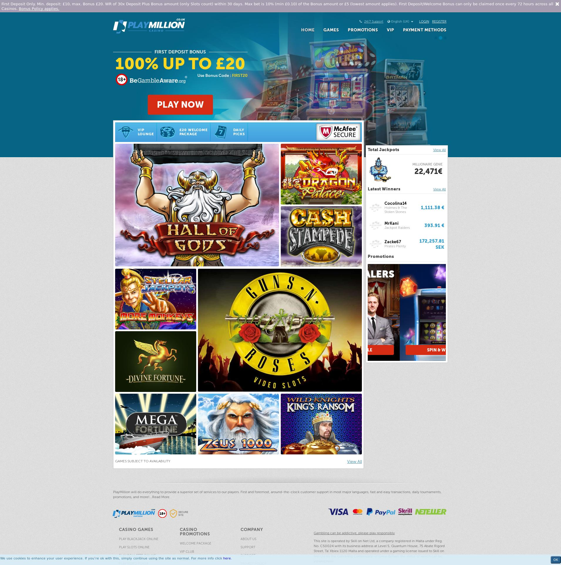 Casino screen Lobby 2019-08-19 for United Kingdom