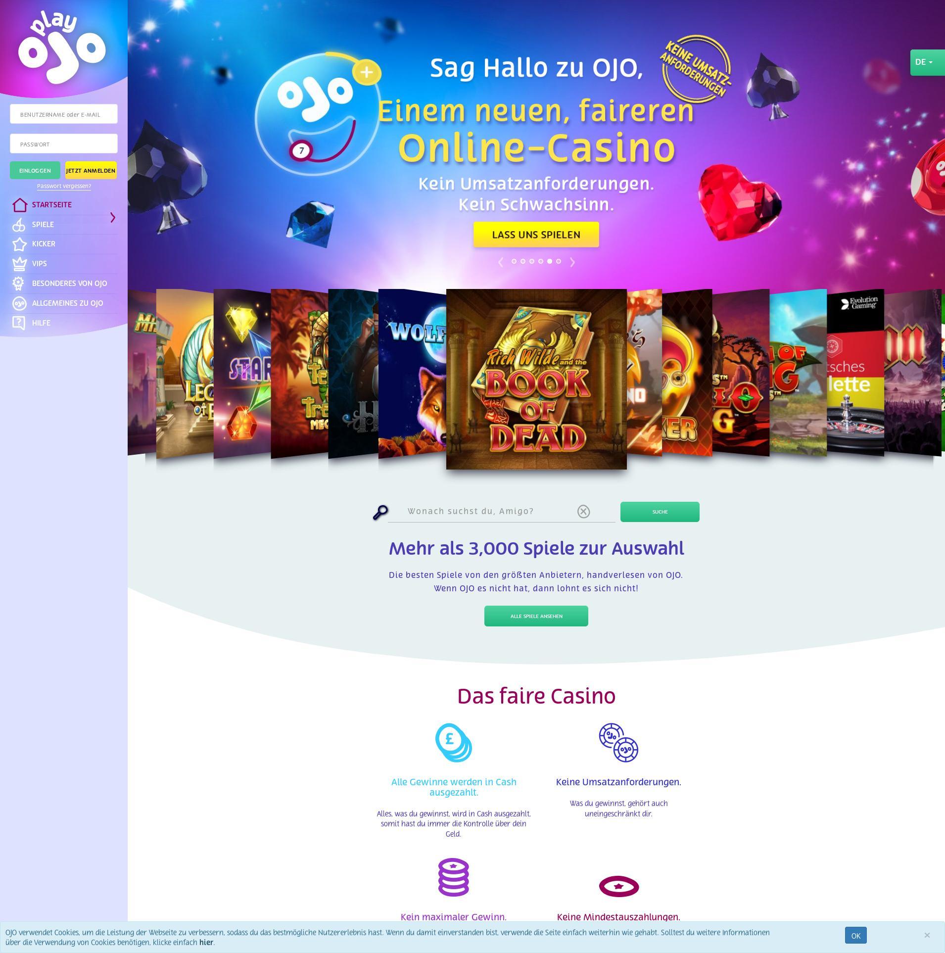 Casino Bildschirm Lobby 2019-10-21 zum Deutschland