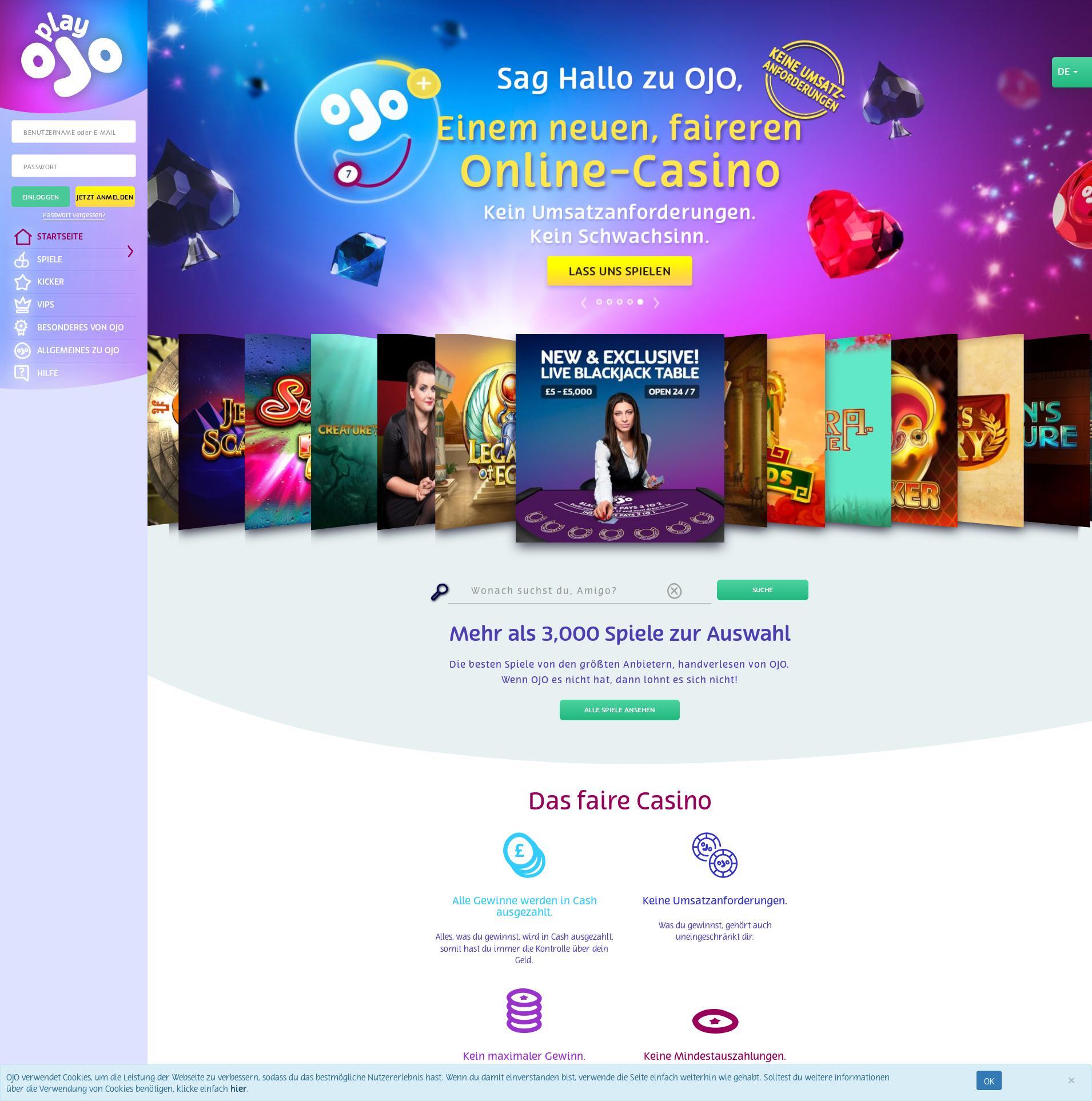 Casino screen Lobby 2020-01-22 pentru Germania