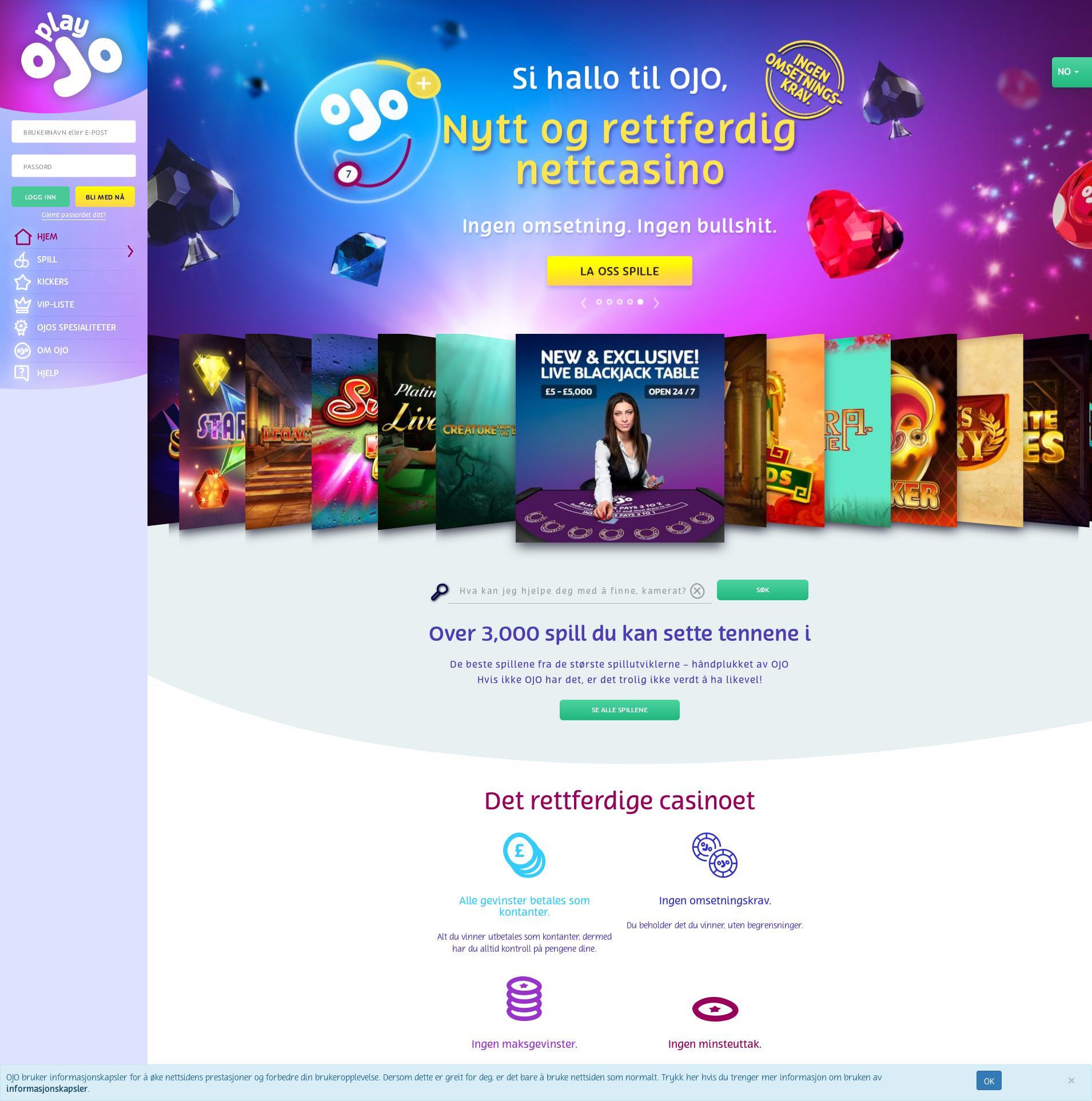 Casino screen Lobby 2020-01-22 pentru Norvegia