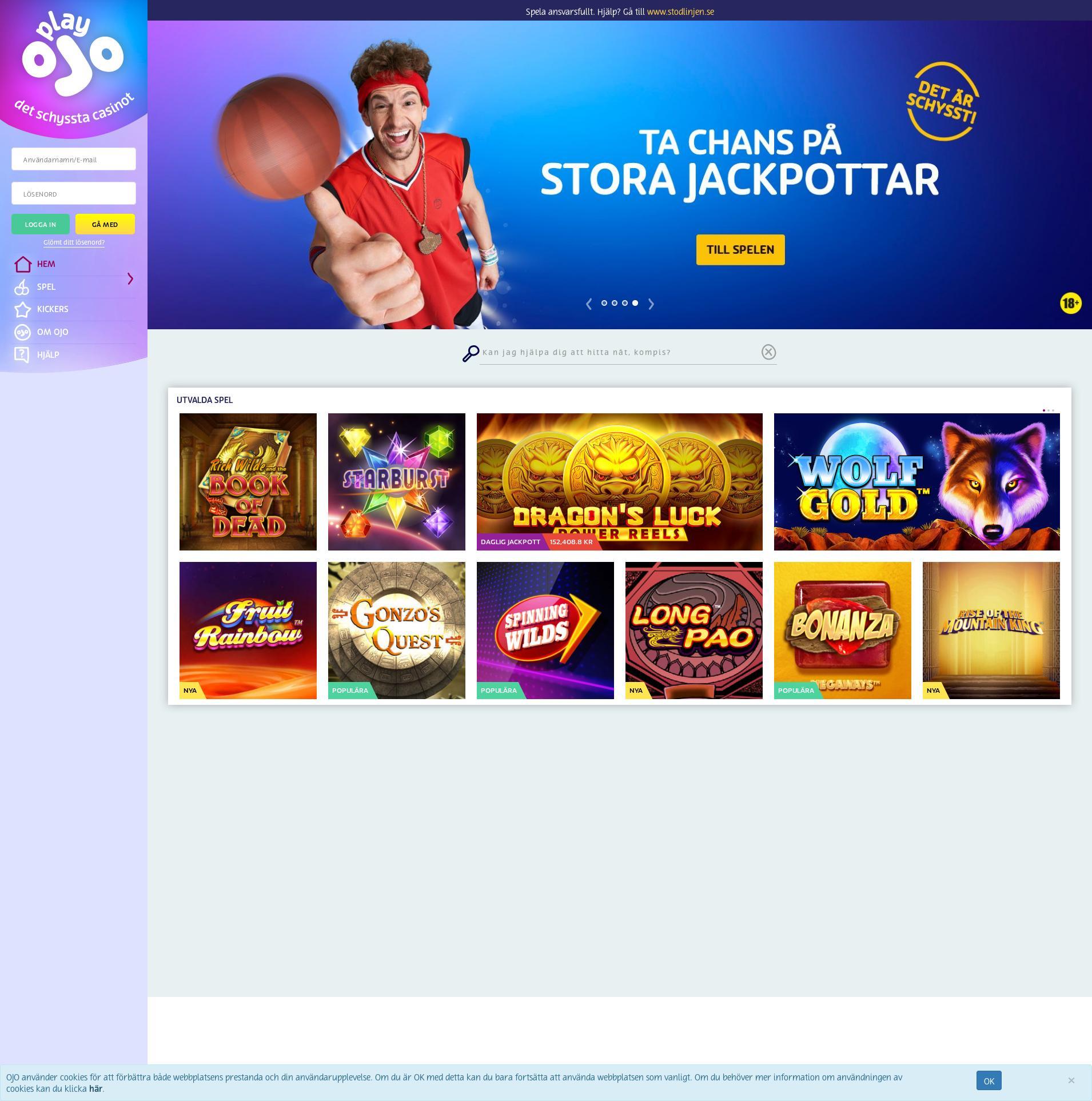 Casino skärm Lobby 2020-04-04 för Sverige