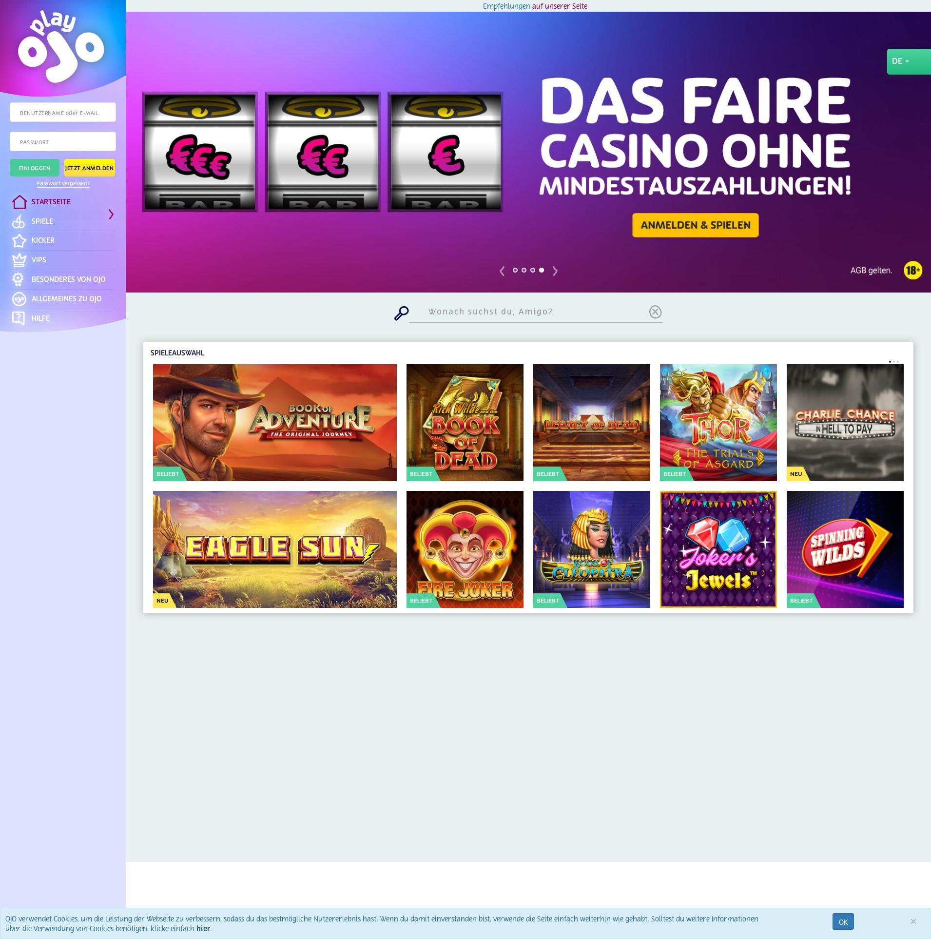 Casino skärm Lobby 2020-06-01 för Tyskland