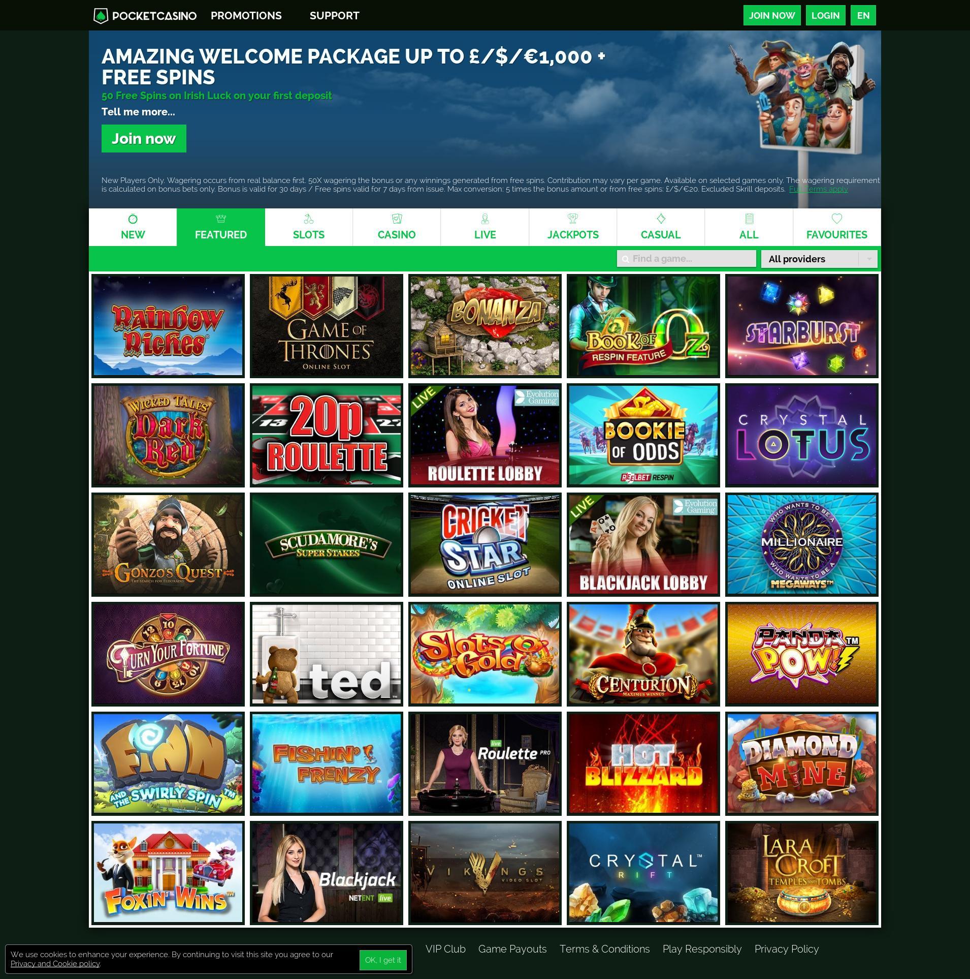 Casino screen Lobby 2019-07-19 for United Kingdom