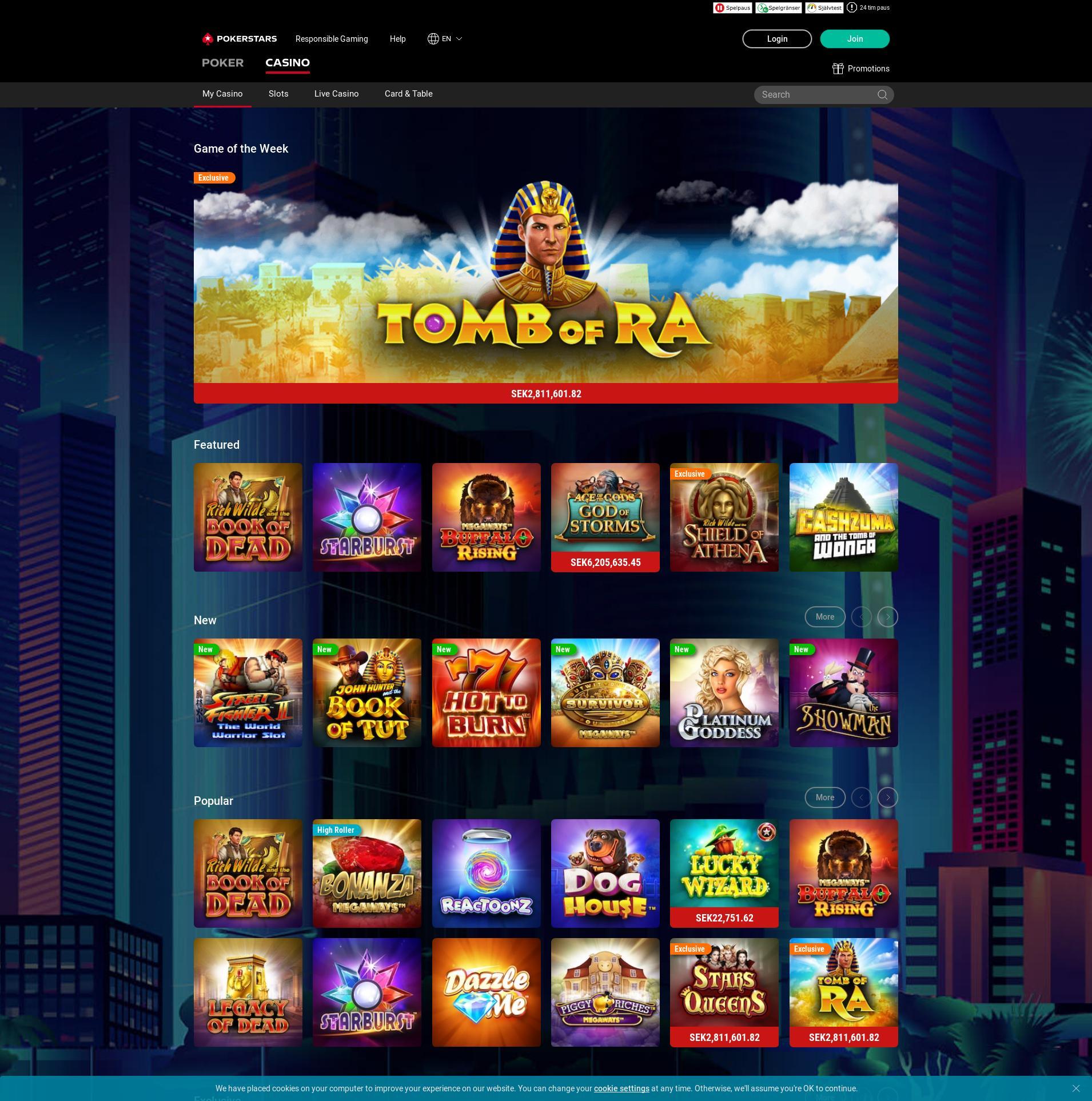 Casino screen Lobby 2020-05-24 for Sweden